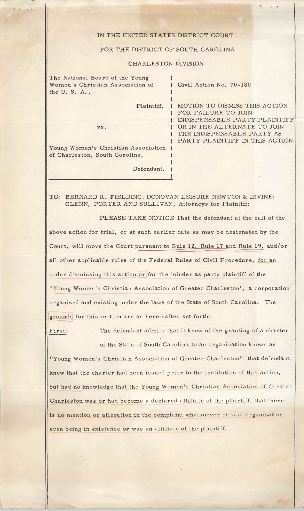 National Board of the Y.W.C.A. of the U.S.A. vs. Y.W.C.A. of Charleston South Carolina, Civil Action No. 70-180, Motion to Dismiss the Action, Page 1