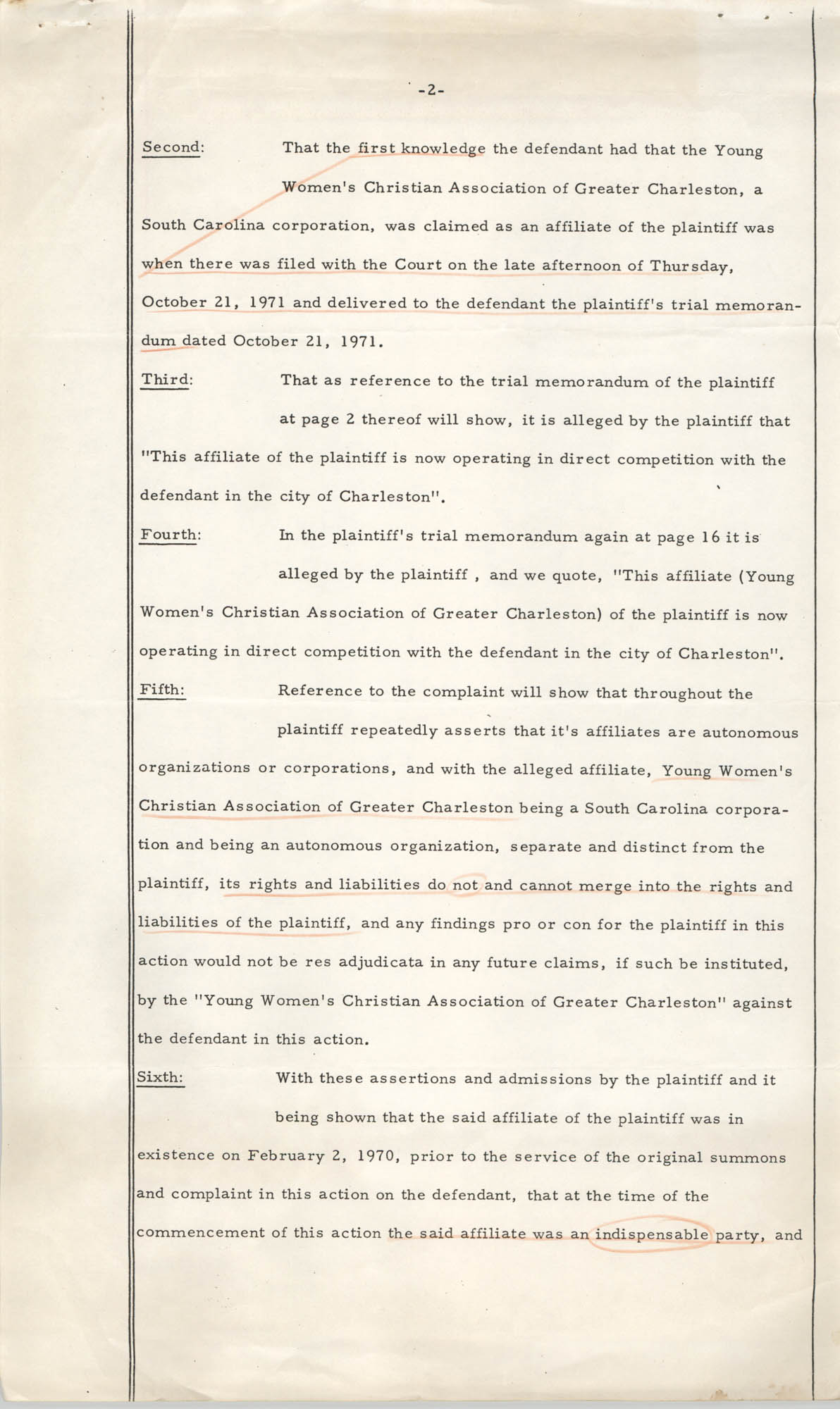 National Board of the Y.W.C.A. of the U.S.A. vs. Y.W.C.A. of Charleston South Carolina, Civil Action No. 70-180, Motion to Dismiss the Action, Page 2