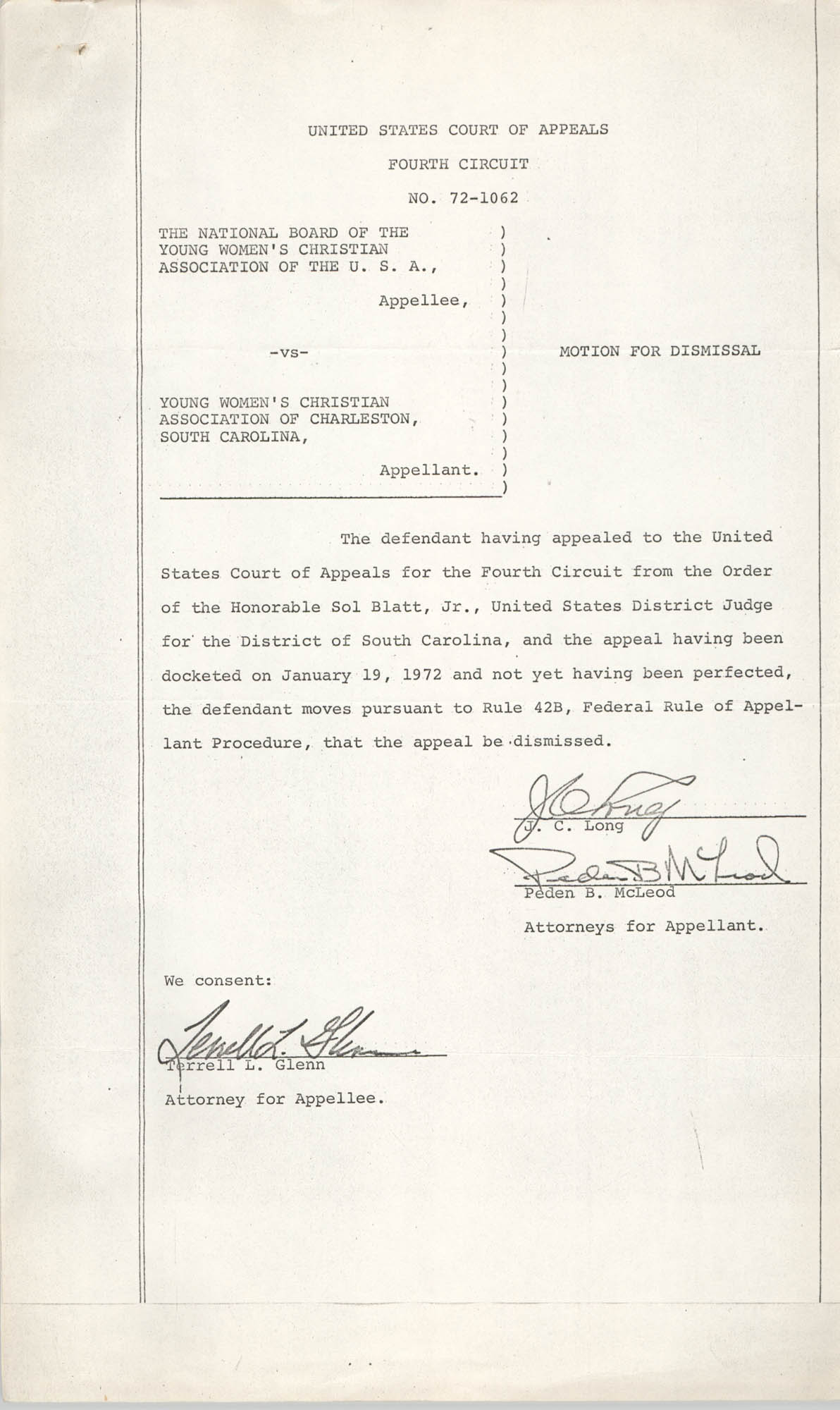 National Board of the Y.W.C.A. of the U.S.A. vs. Y.W.C.A. of Charleston South Carolina, No. 72-1062, Motion for Dismissal