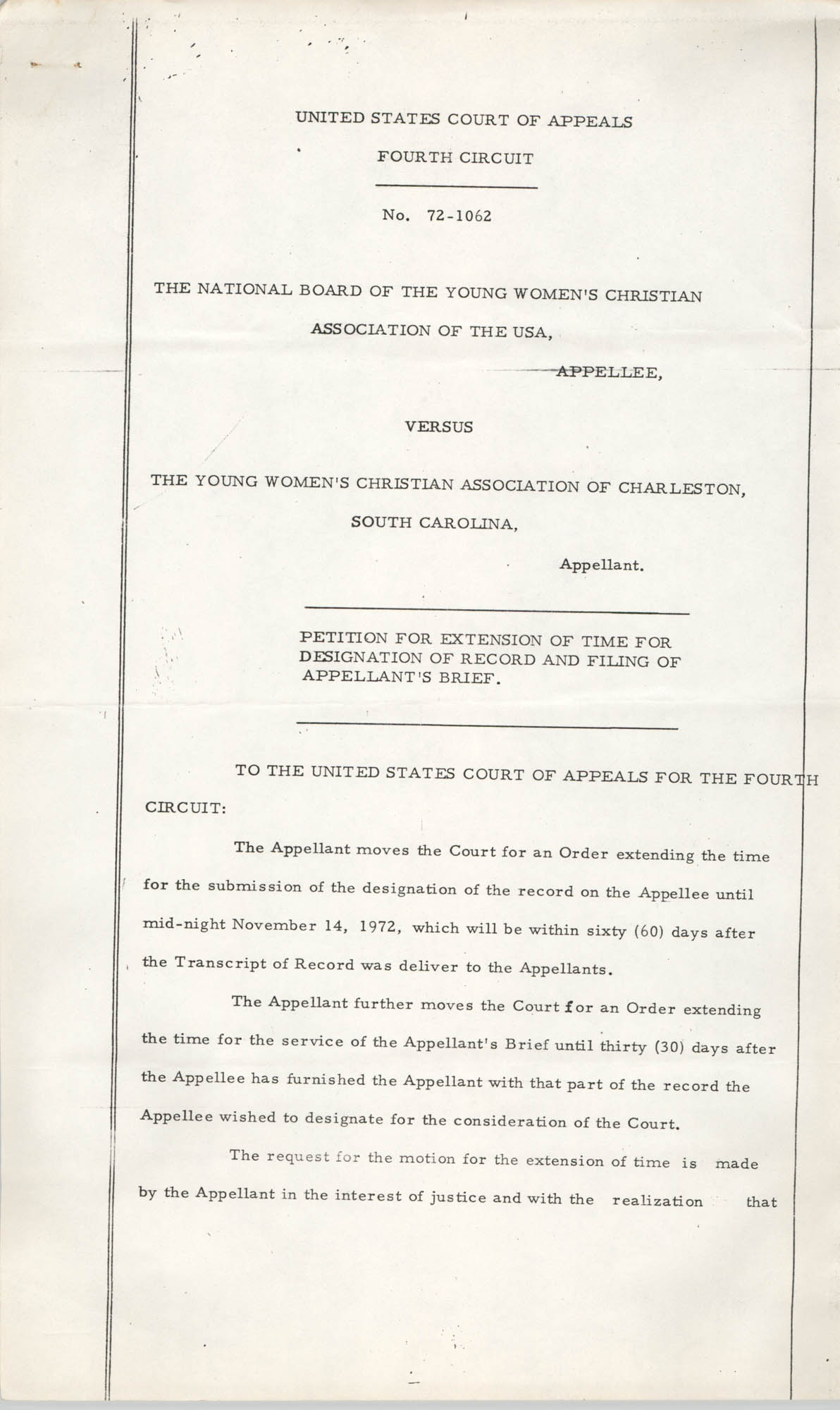 National Board of the Y.W.C.A. of the U.S.A. vs. Y.W.C.A. of Charleston South Carolina, No. 72-1062, Petition for Extension, Page 1