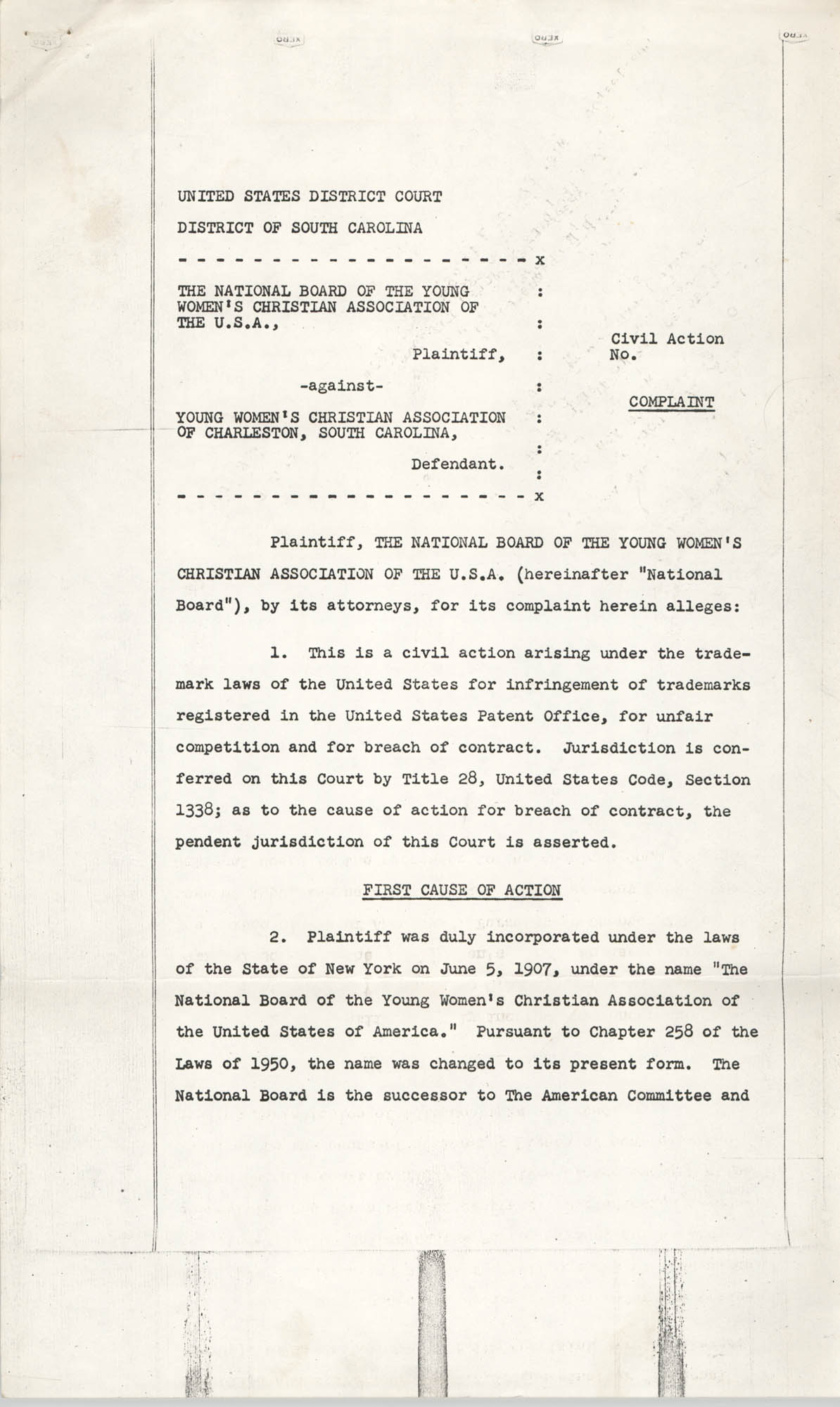 National Board of Y.W.C.A. of the U.S.A. against Y.W.C.A. of Charleston, South Carolina – Civil Action, Complaint, Page 1