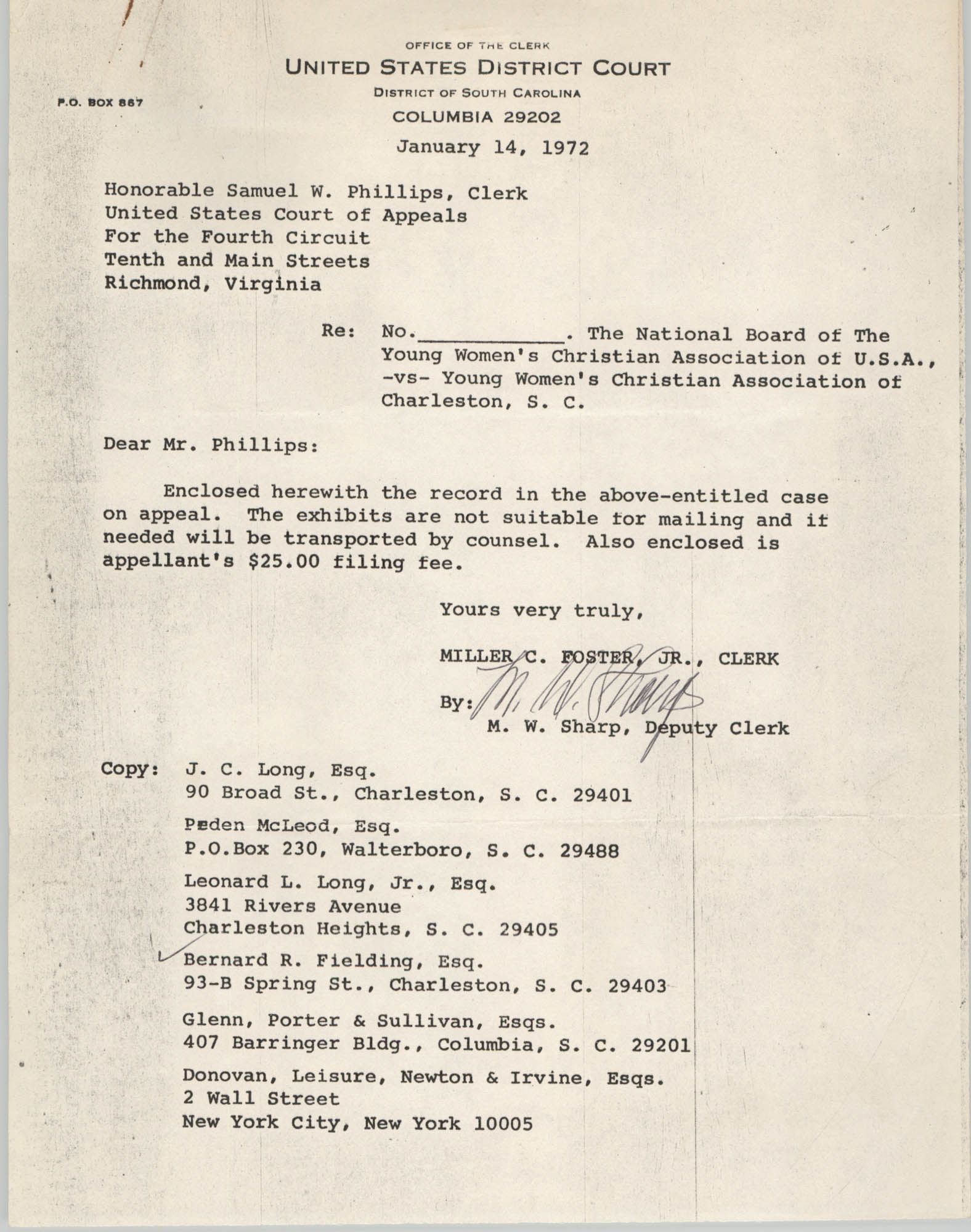 Letter from Miller C. Foster, Jr. and M. W. Sharp to Honorable Samuel W. Phillips, January 14, 1972