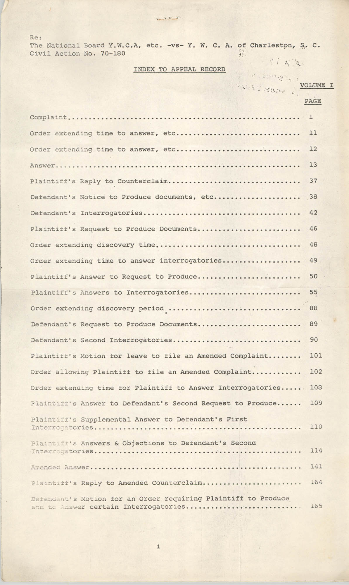 Index to Appeal Record, National Board of the Y.W.C.A. of U.S.A. vs. Y.W.C.A. of Charleston, S. C., Civil Action No. 70-180, Page 1