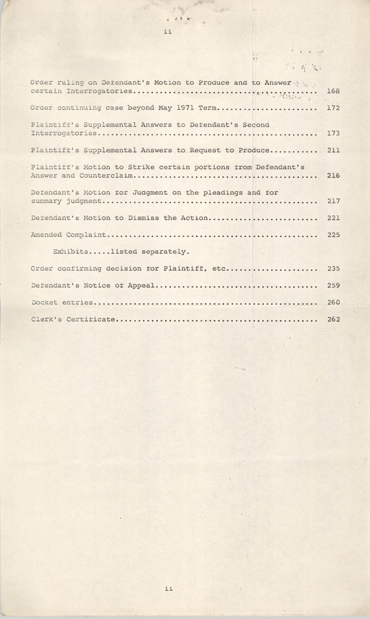 Index to Appeal Record, National Board of the Y.W.C.A. of U.S.A. vs. Y.W.C.A. of Charleston, S. C., Civil Action No. 70-180, Page 2