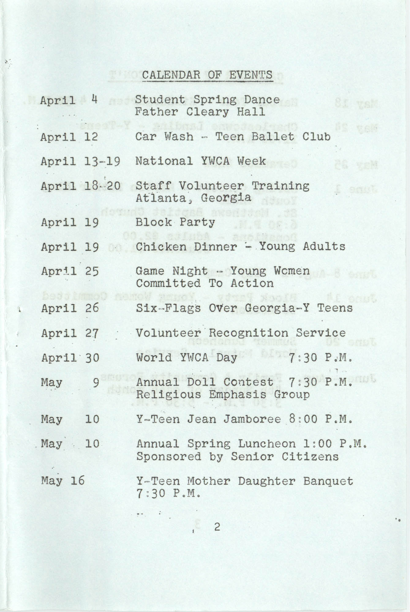 Spring 1975 Schedule, Y.W.C.A. of Greater Charleston, Page 2