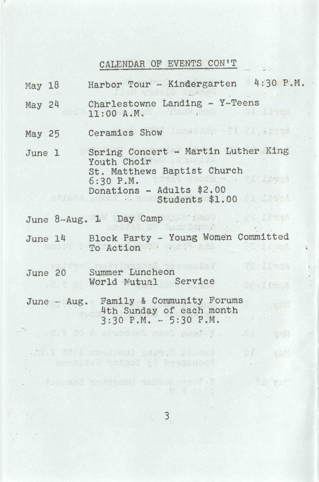 Spring 1975 Schedule, Y.W.C.A. of Greater Charleston, Page 3