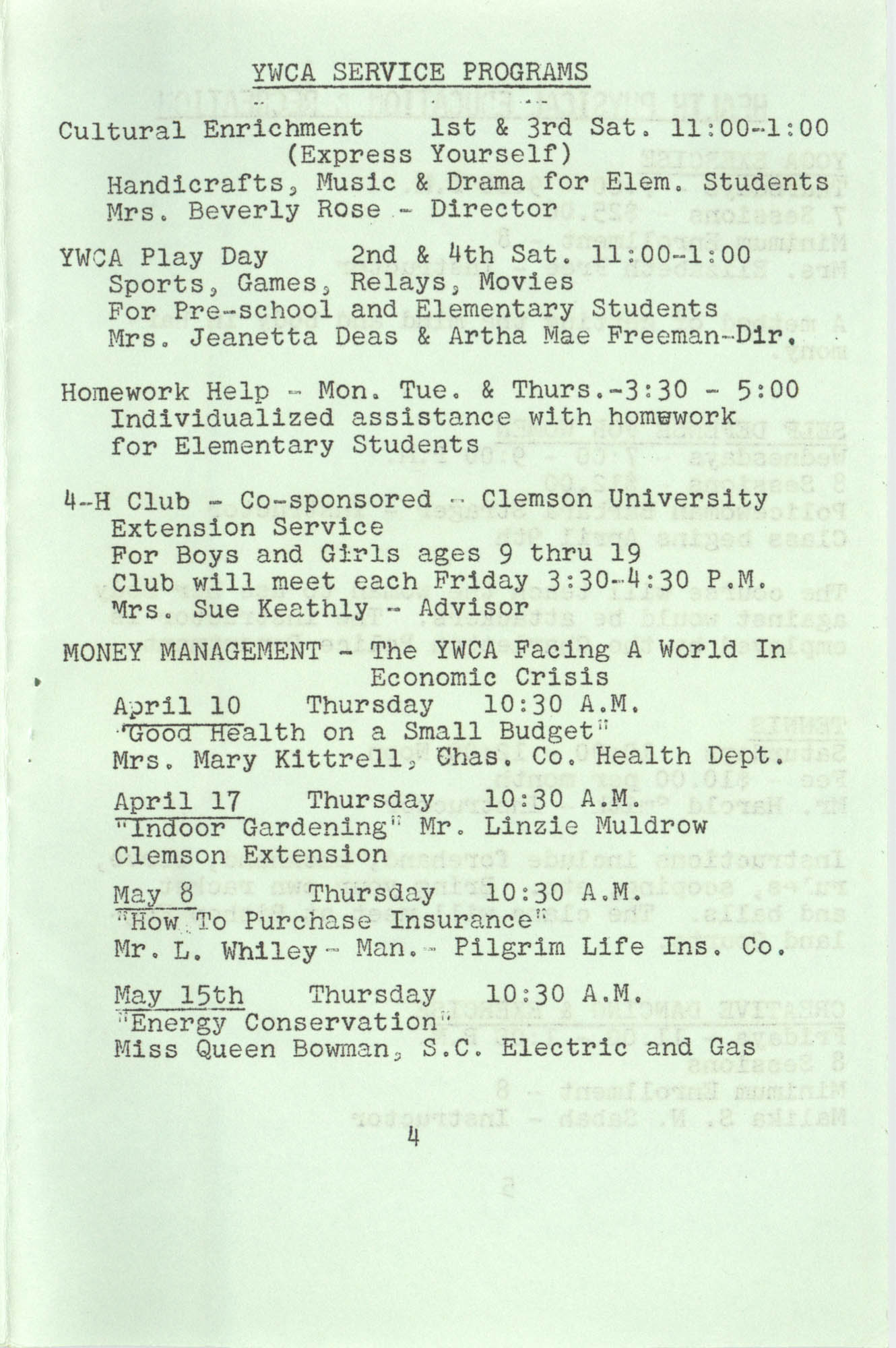 Spring 1975 Schedule, Y.W.C.A. of Greater Charleston, Page 4