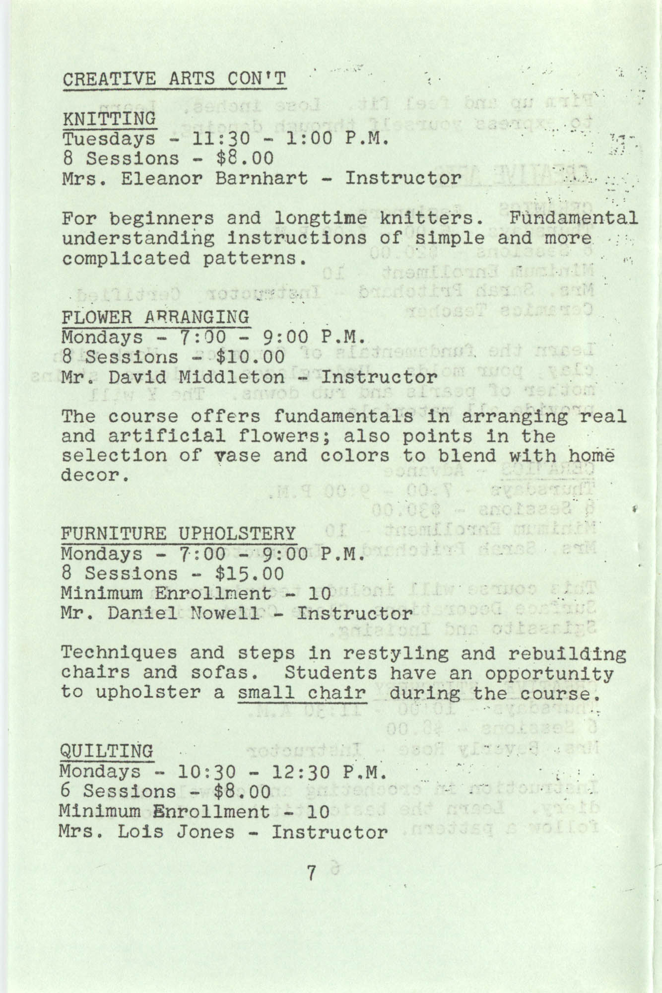 Spring 1975 Schedule, Y.W.C.A. of Greater Charleston, Page 7