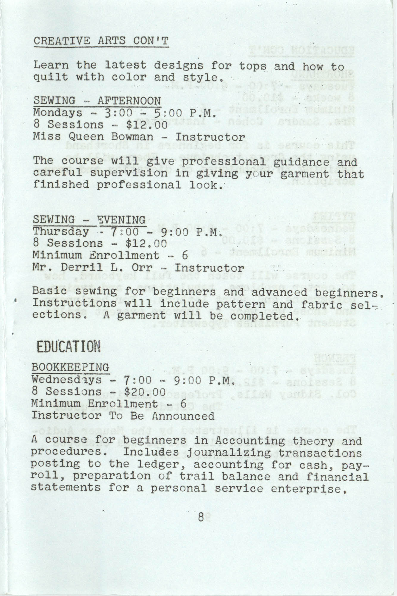 Spring 1975 Schedule, Y.W.C.A. of Greater Charleston, Page 8
