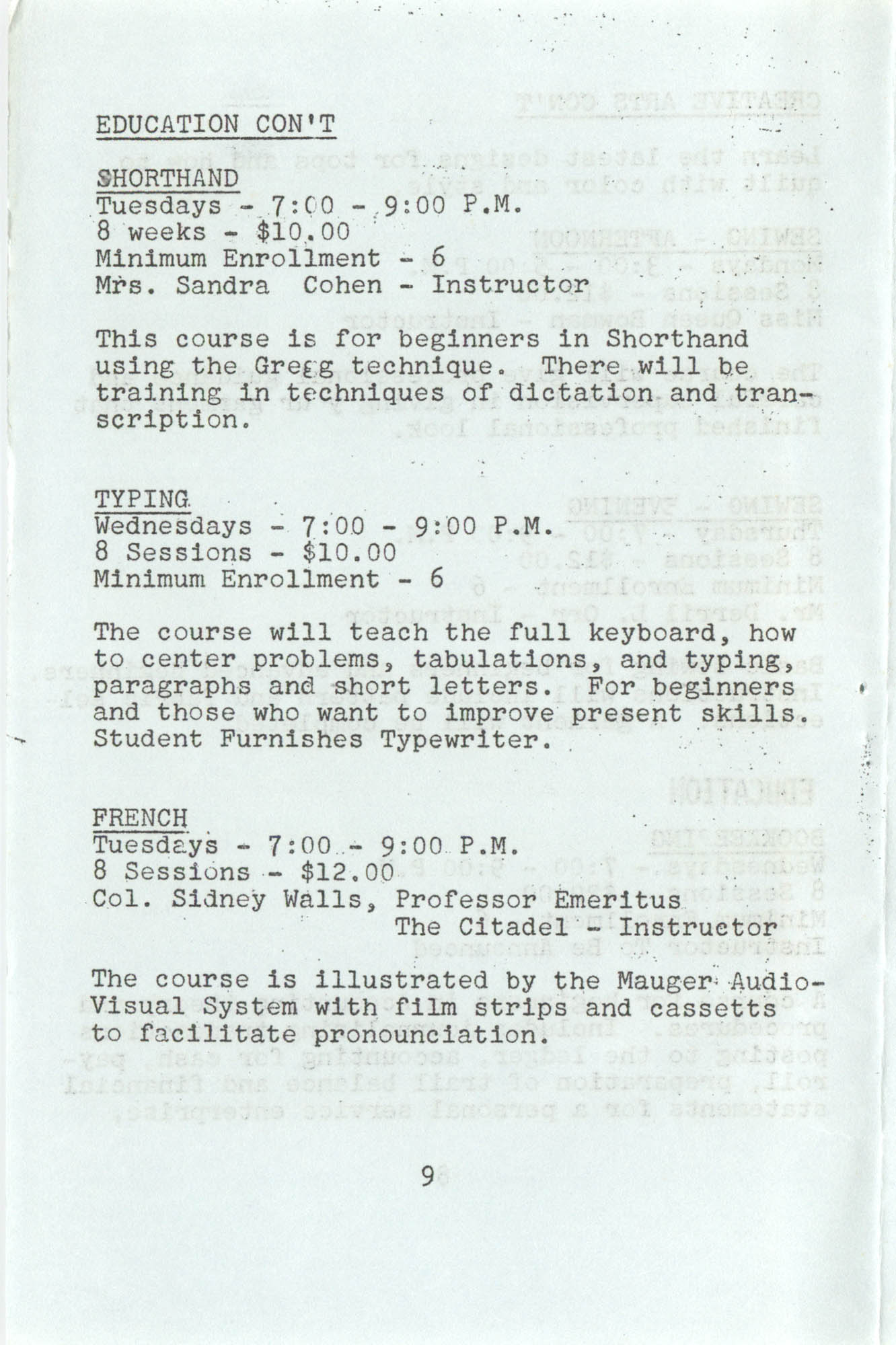 Spring 1975 Schedule, Y.W.C.A. of Greater Charleston, Page 9