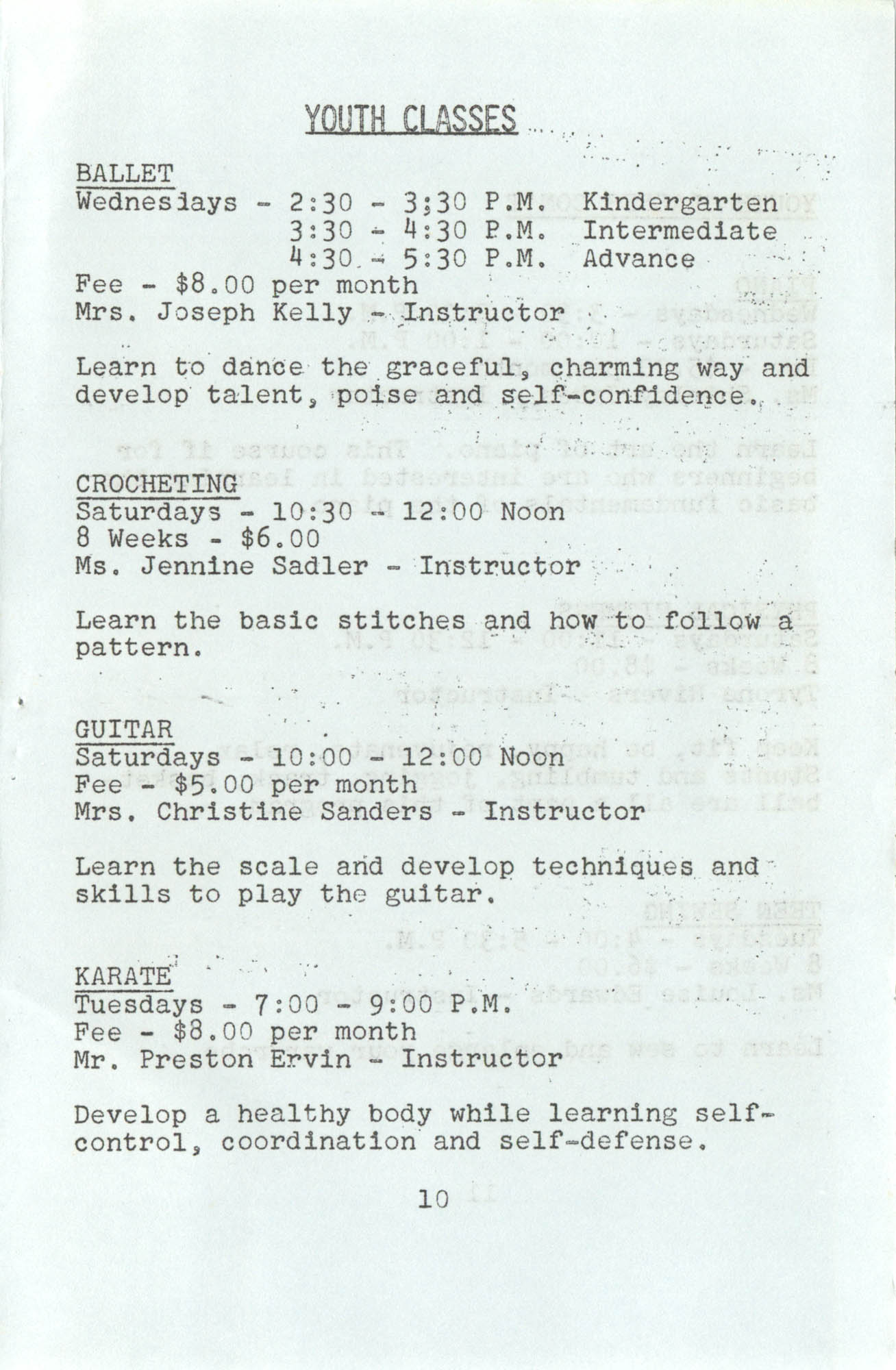 Spring 1975 Schedule, Y.W.C.A. of Greater Charleston, Page 10