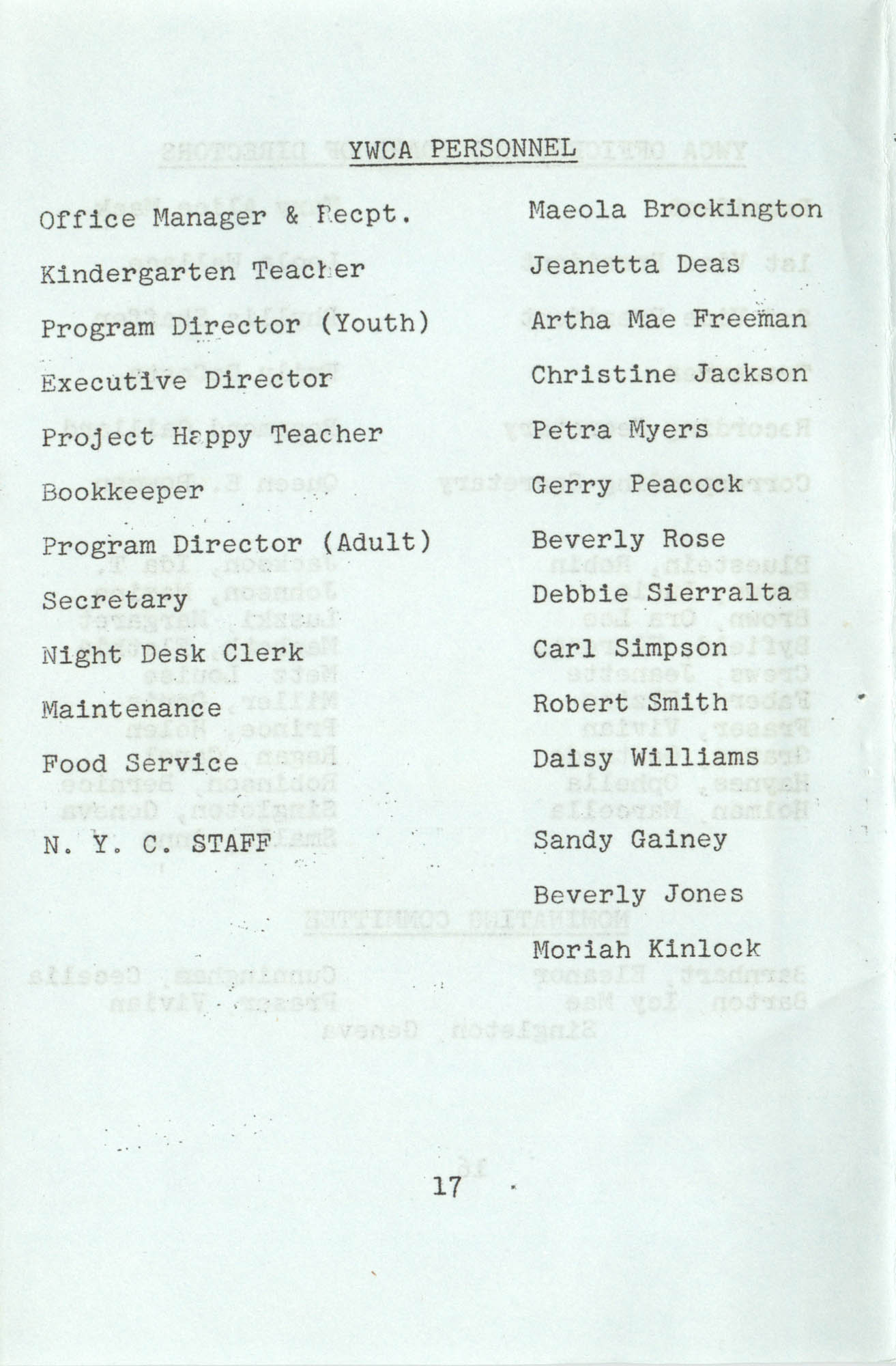 Spring 1975 Schedule, Y.W.C.A. of Greater Charleston, Page 17