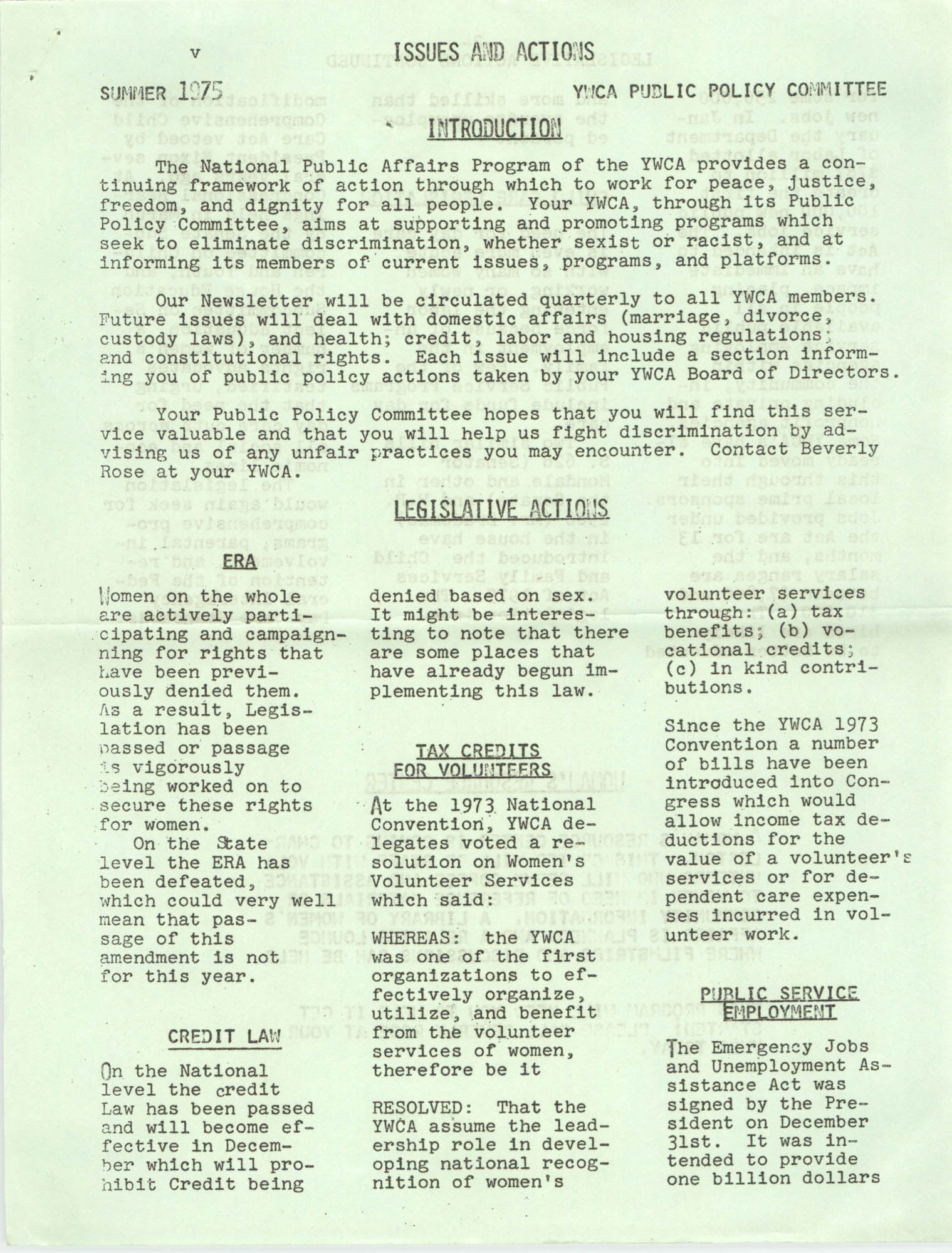 Issues and Actions, Y.W.C.A. of Greater Charleston, Summer 1975, Page 1
