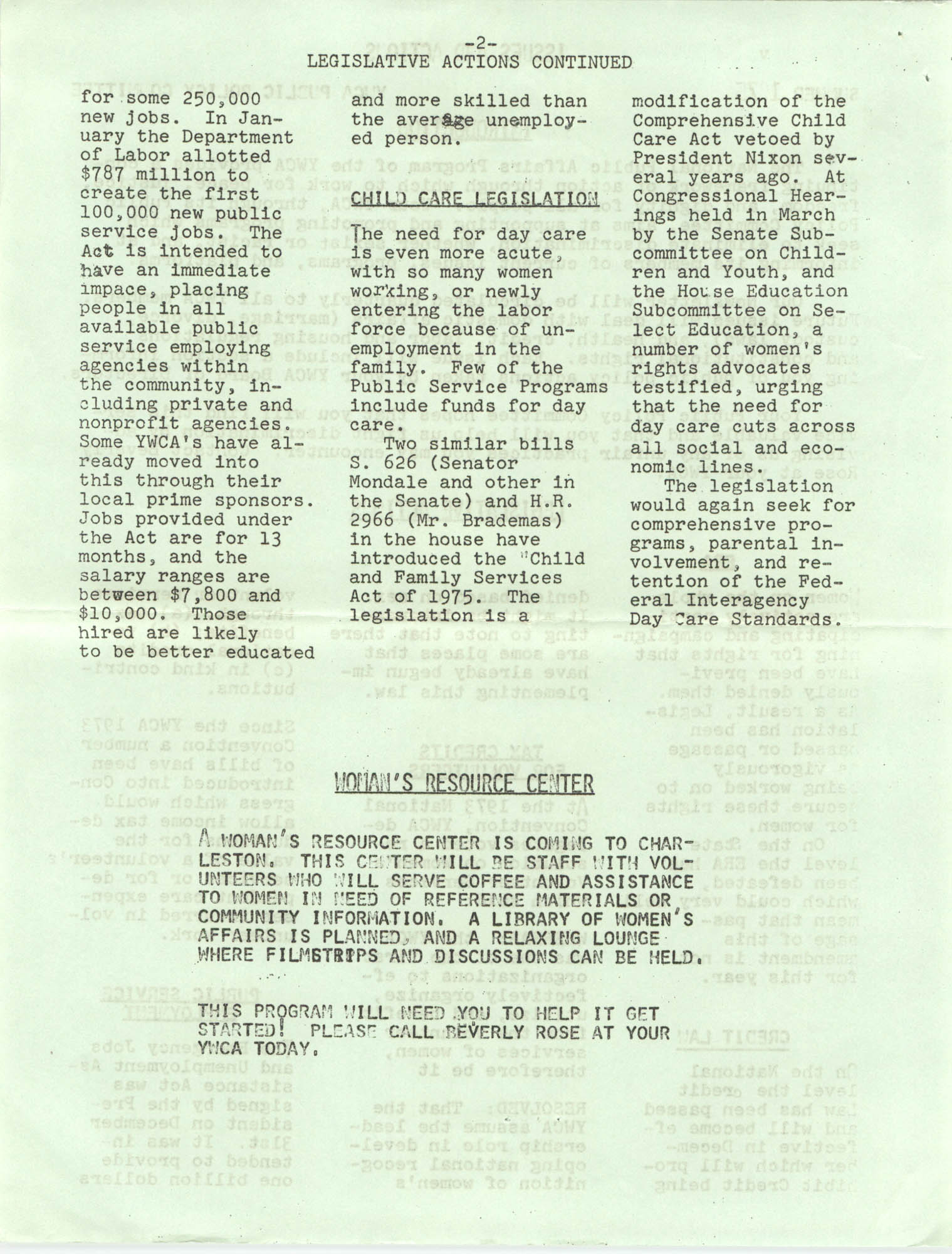 Issues and Actions, Y.W.C.A. of Greater Charleston, Summer 1975, Page 2