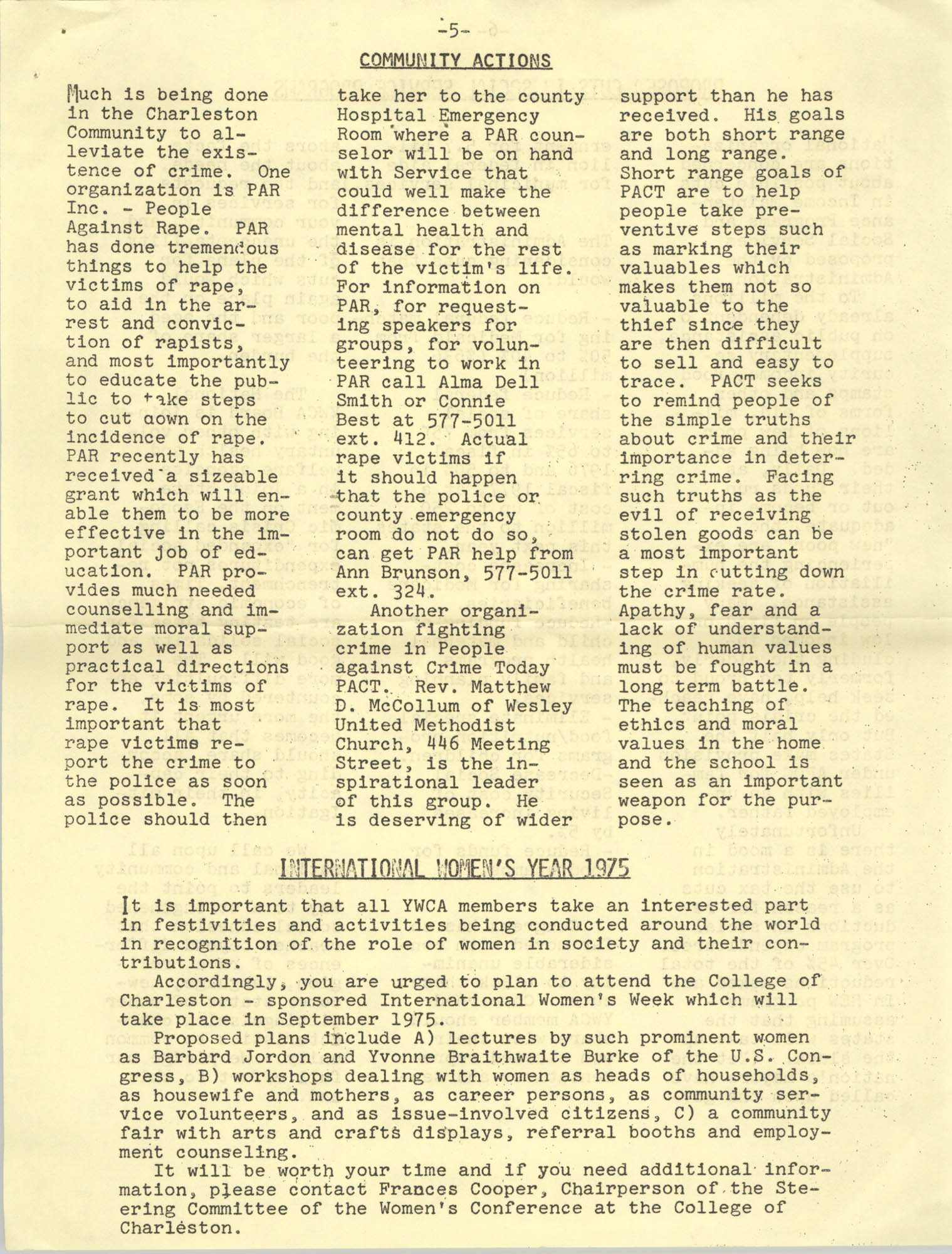 Issues and Actions, Y.W.C.A. of Greater Charleston, Summer 1975, Page 5