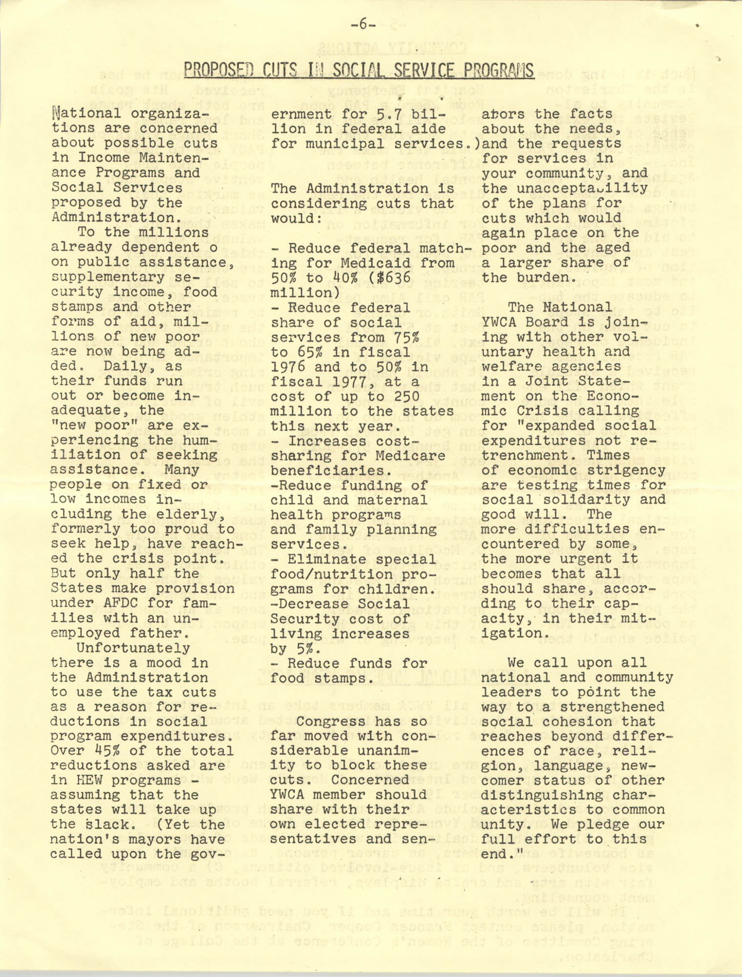 Issues and Actions, Y.W.C.A. of Greater Charleston, Summer 1975, Page 6
