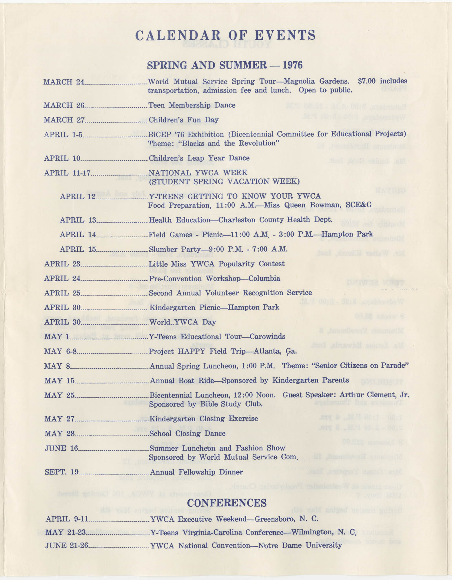 Spring and Summer 1976 Programs, Y.W.C.A. of Greater Charleston, Page 3