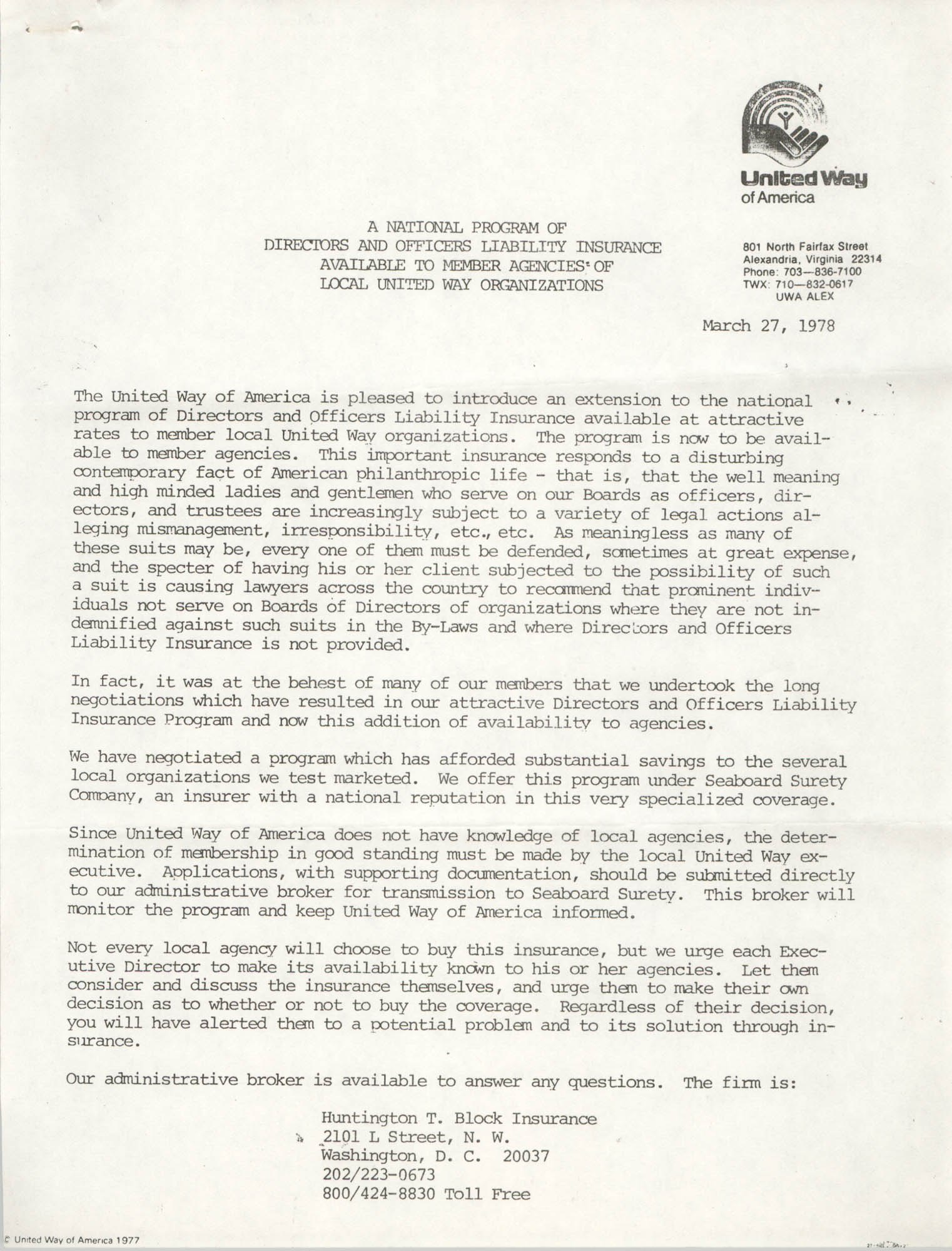 Legal Liability Insurance Cover Letter, March 27, 1978