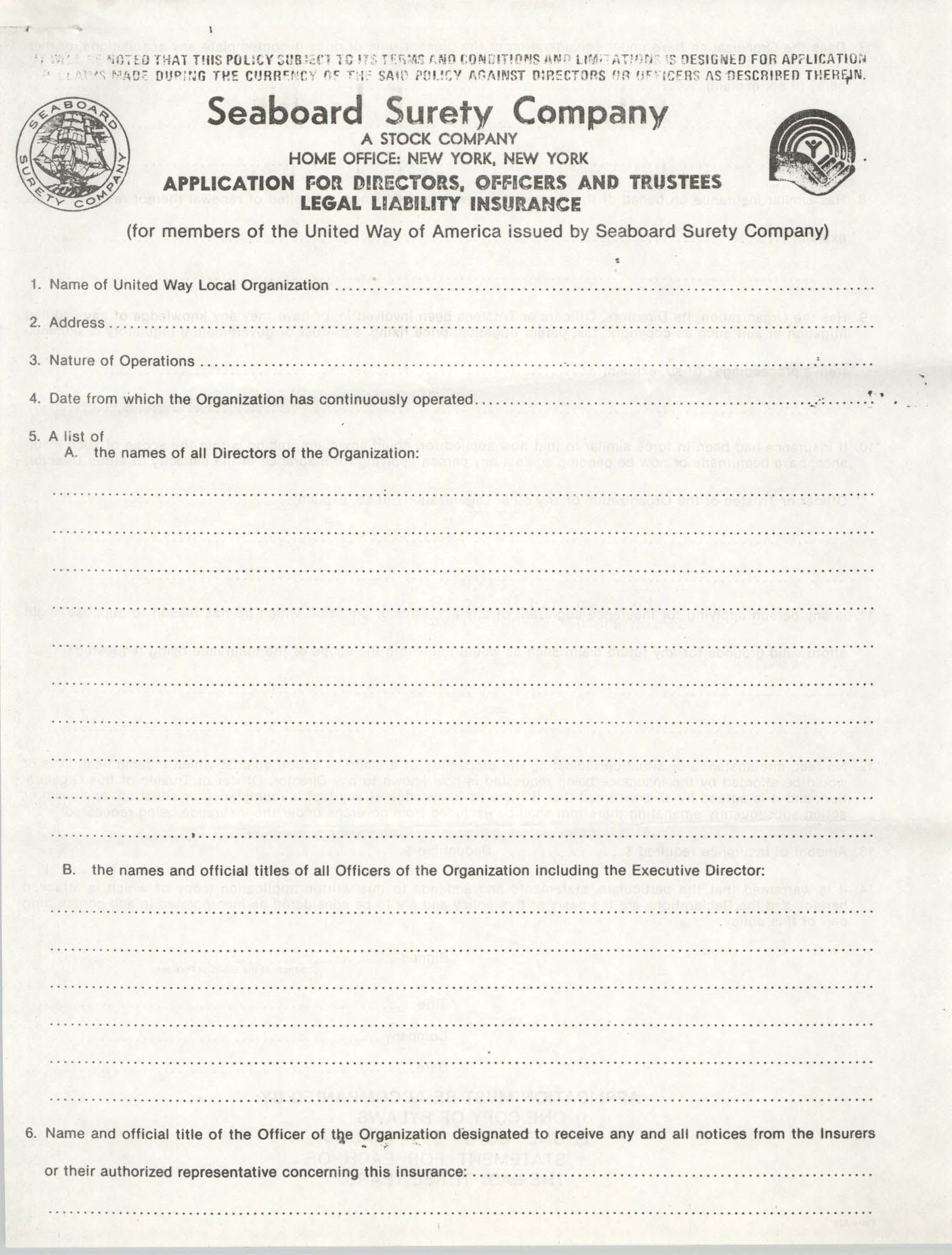 Seaboard Surety Company Legal Liability Insurance Application, Page 1