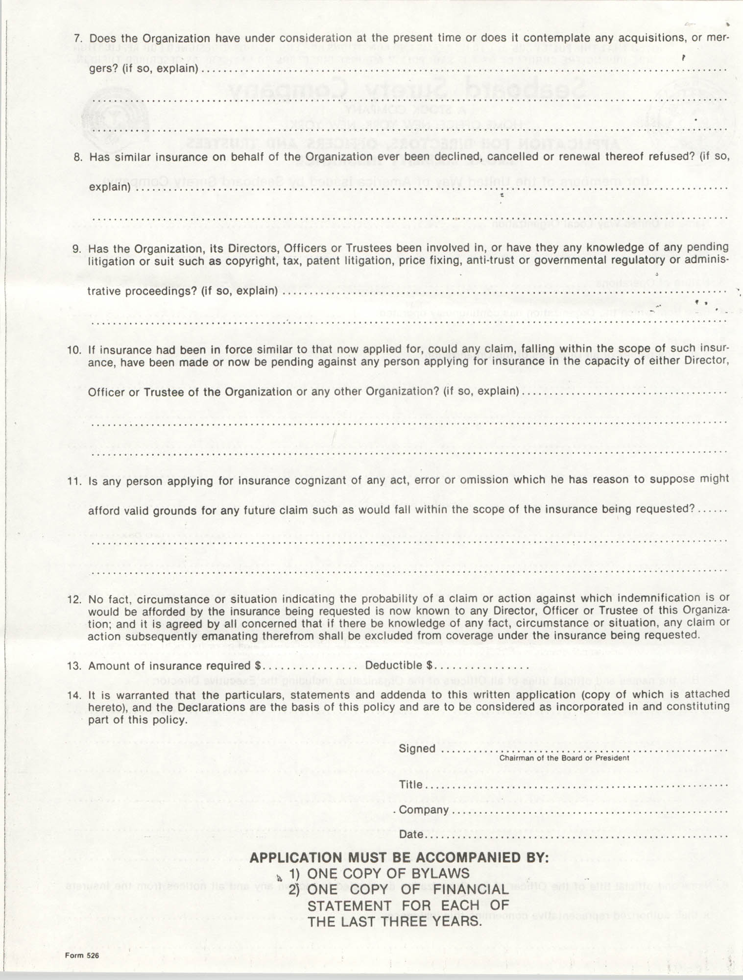 Seaboard Surety Company Legal Liability Insurance Application, Page 2