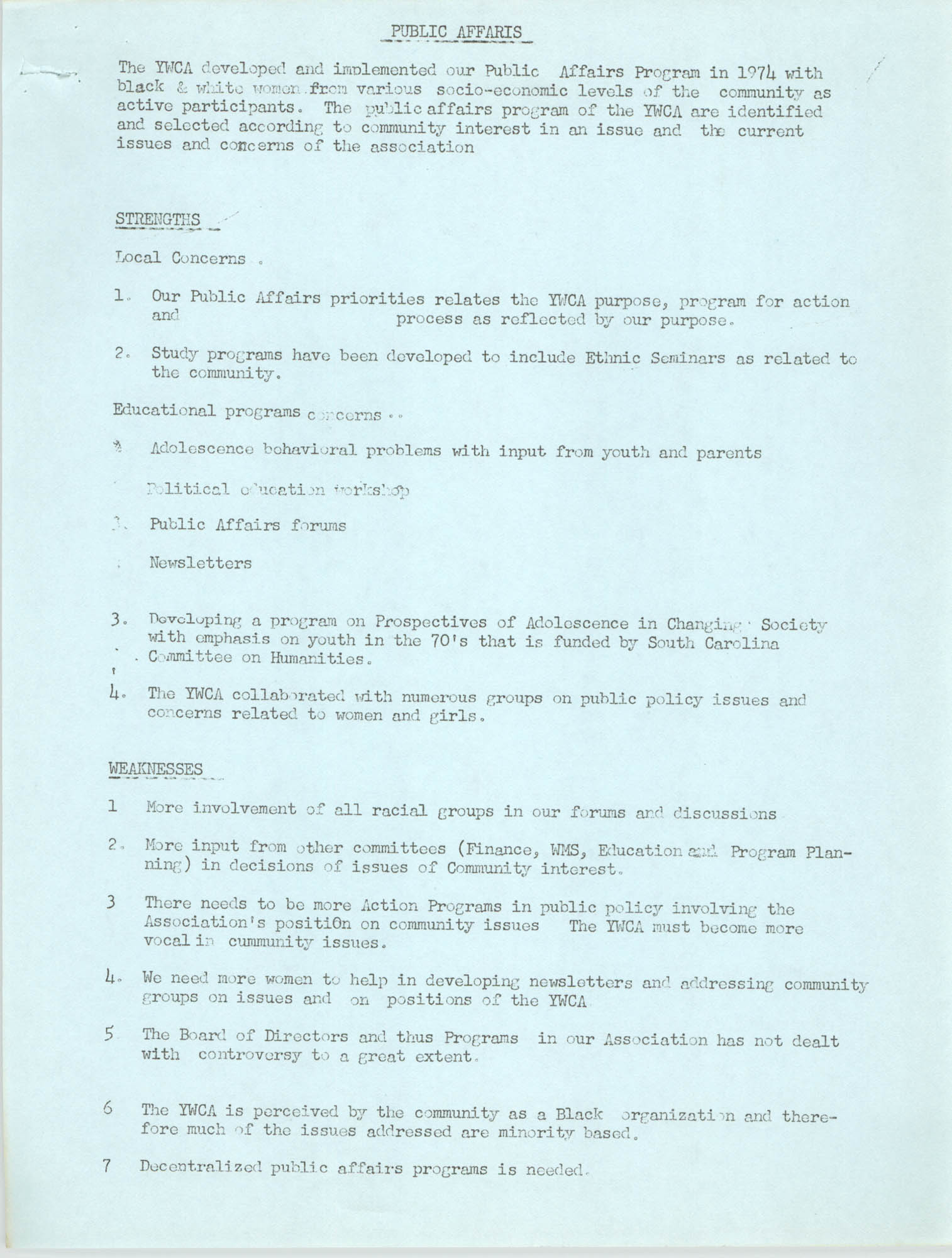 Program for the Y.W.C.A. of Greater Charleston, 1974, Page 5