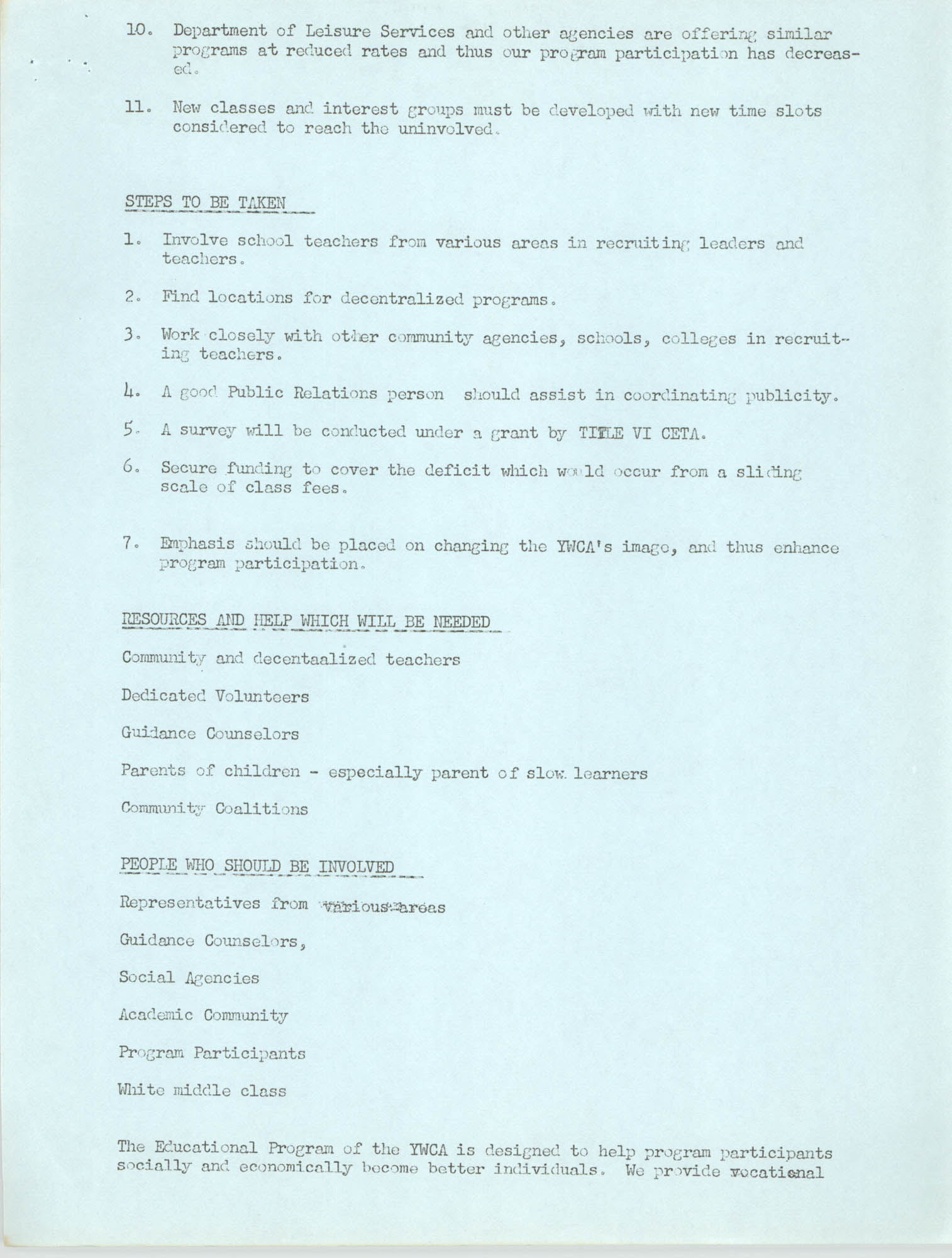 Program for the Y.W.C.A. of Greater Charleston, 1974, Page 9