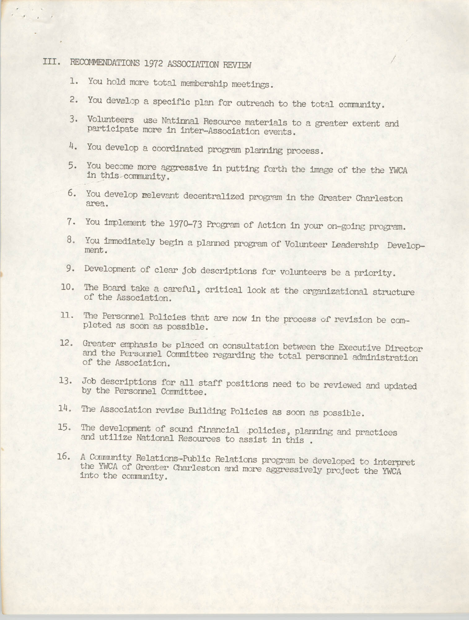 Y.W.C.A. of Greater Charleston Recommendations 1972 Association Review