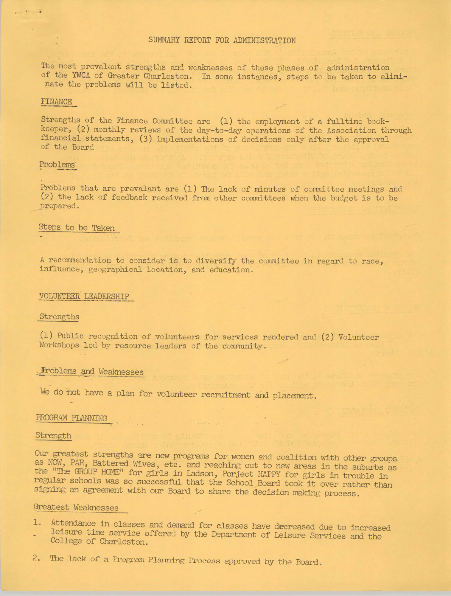 Y.W.C.A. of Greater Charleston Summary Report for Administration, Page 1