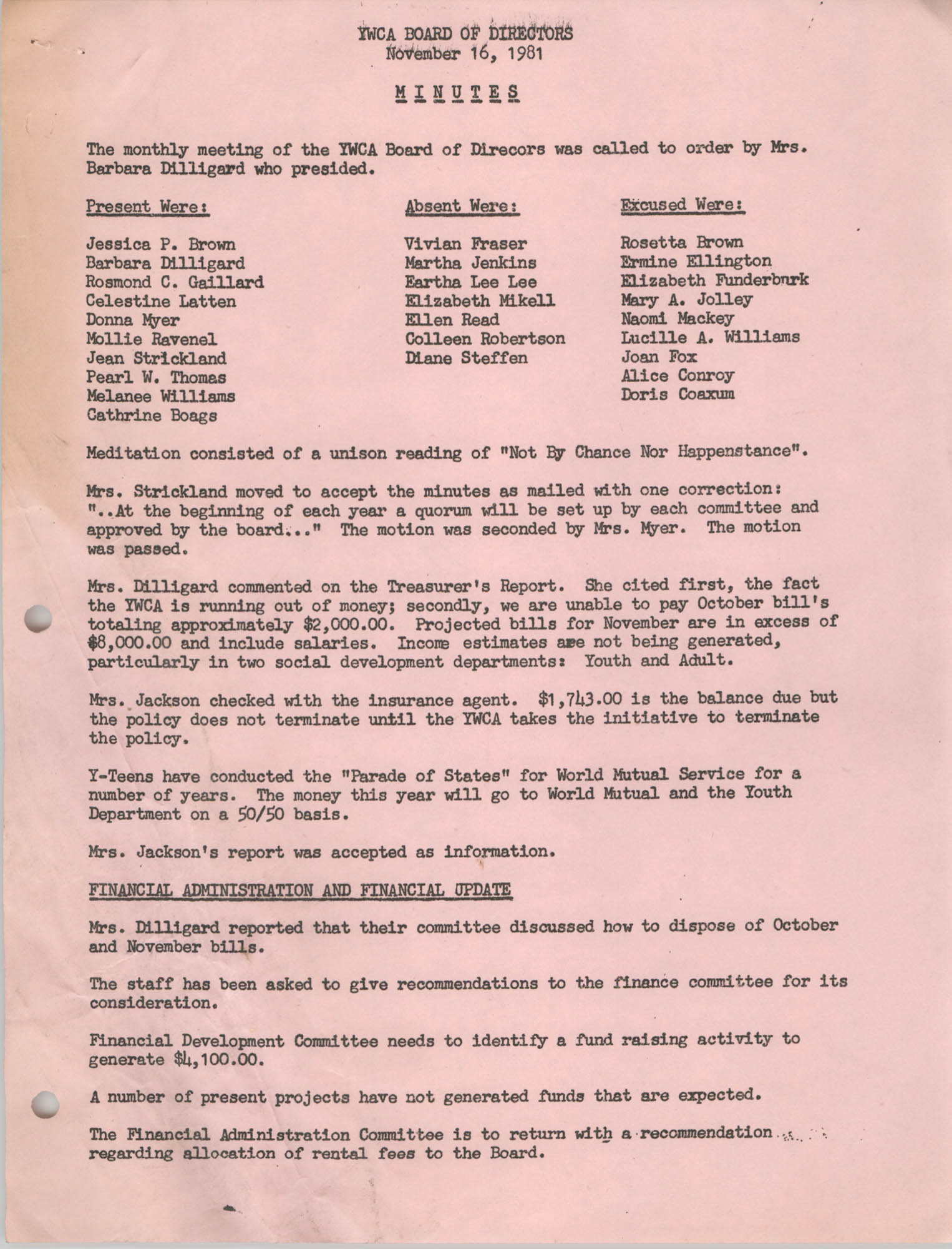 Minutes to the Y.W.C.A. of Greater Charleston Board of Directors Meeting, November 16, 1981, Page 1