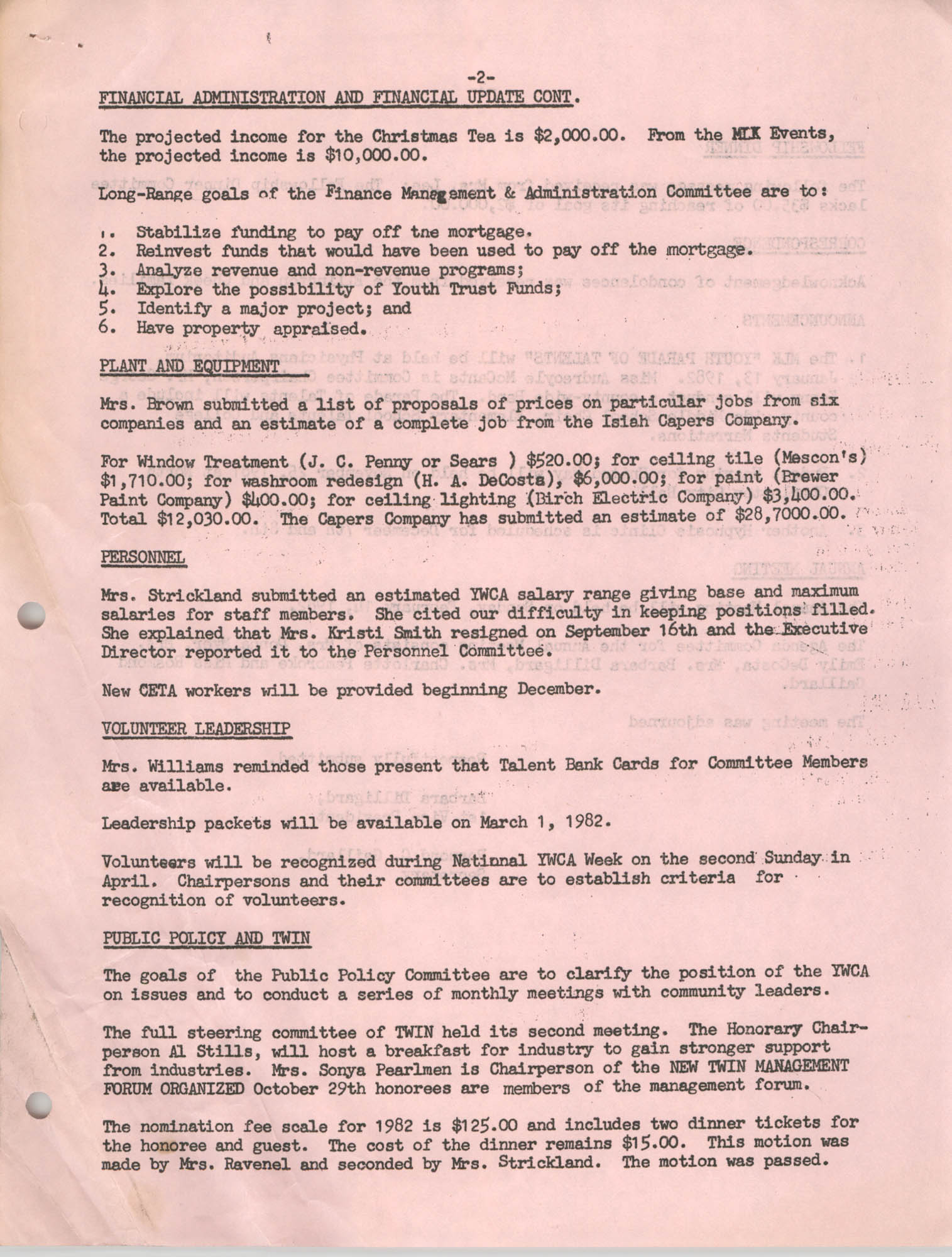 Minutes to the Y.W.C.A. of Greater Charleston Board of Directors Meeting, November 16, 1981, Page 2