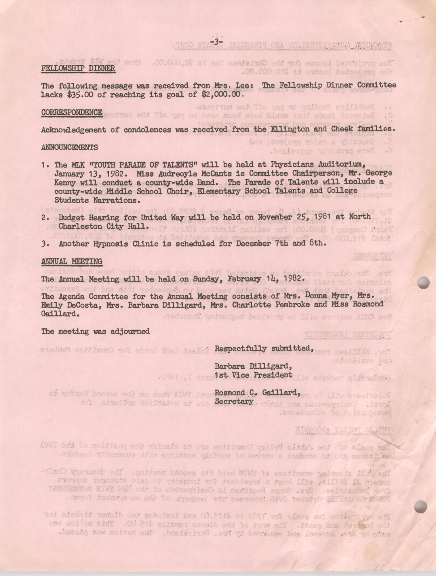 Minutes to the Y.W.C.A. of Greater Charleston Board of Directors Meeting, November 16, 1981, Page 3