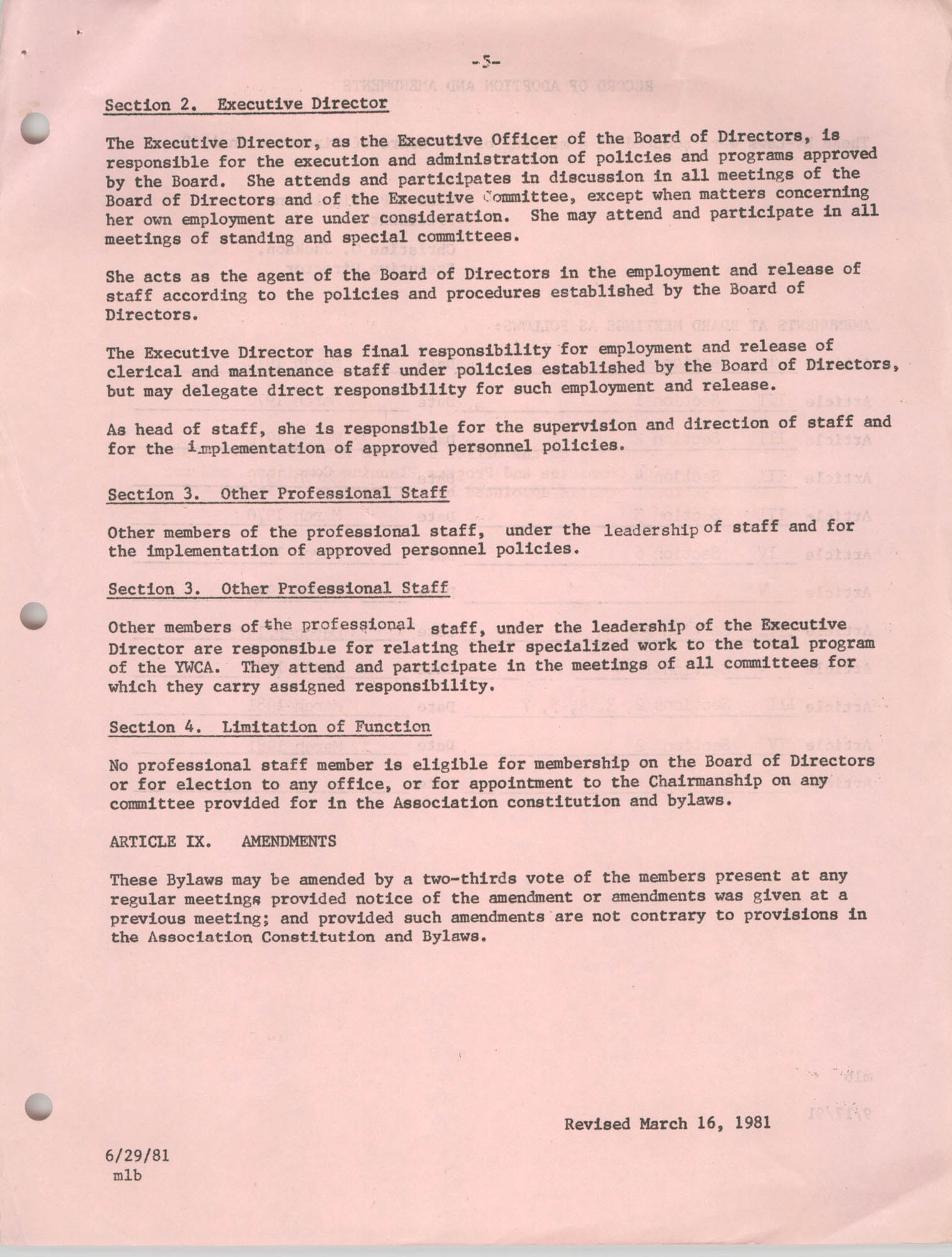 Minutes to the Y.W.C.A. of Greater Charleston Bylaws for the Board of Directors, Page 5