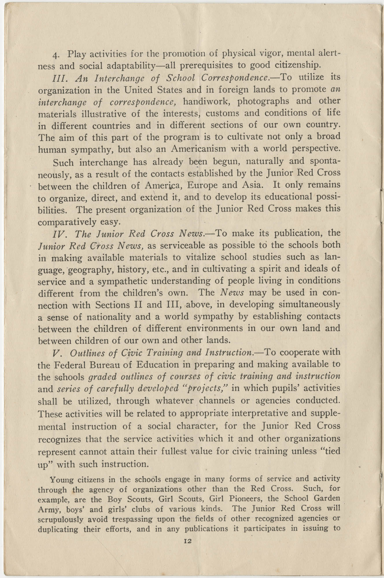 Civic Training Through Service, Department of the Interior, Bureau of Education, June 1920, Page 12