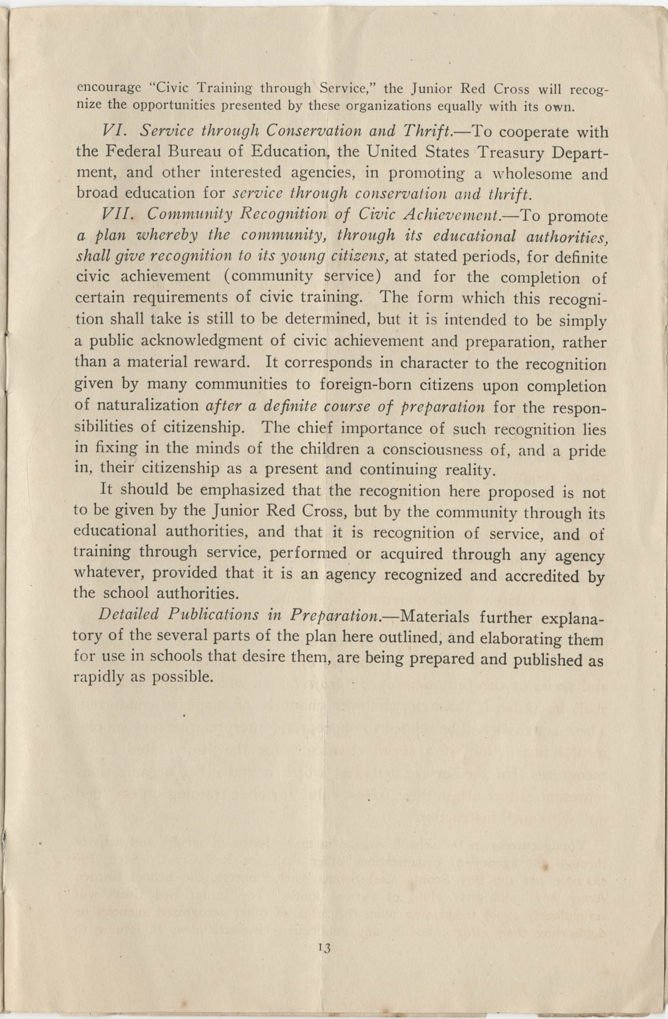 Civic Training Through Service, Department of the Interior, Bureau of Education, June 1920, Page 13