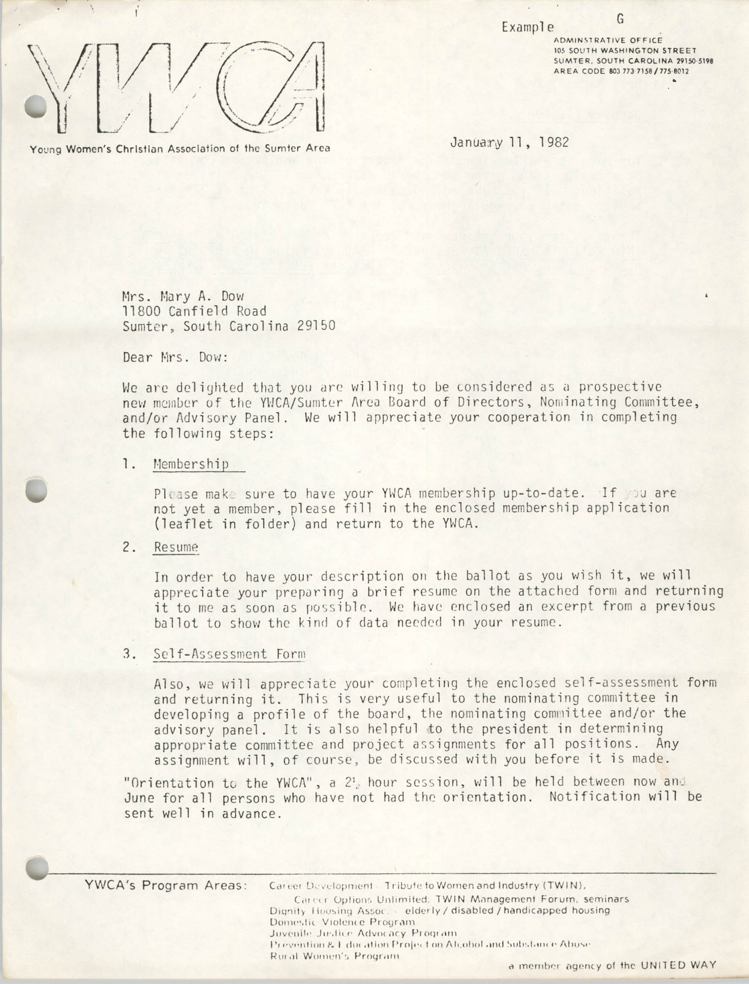 Y.W.C.A. of the Sumter Area Memorandum, January 11, 1982, Page 1
