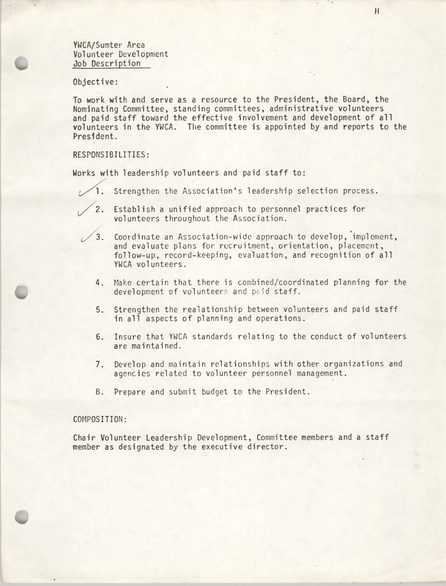 Y.W.C.A. of the Sumter Area Memorandum, January 11, 1982, Page 2