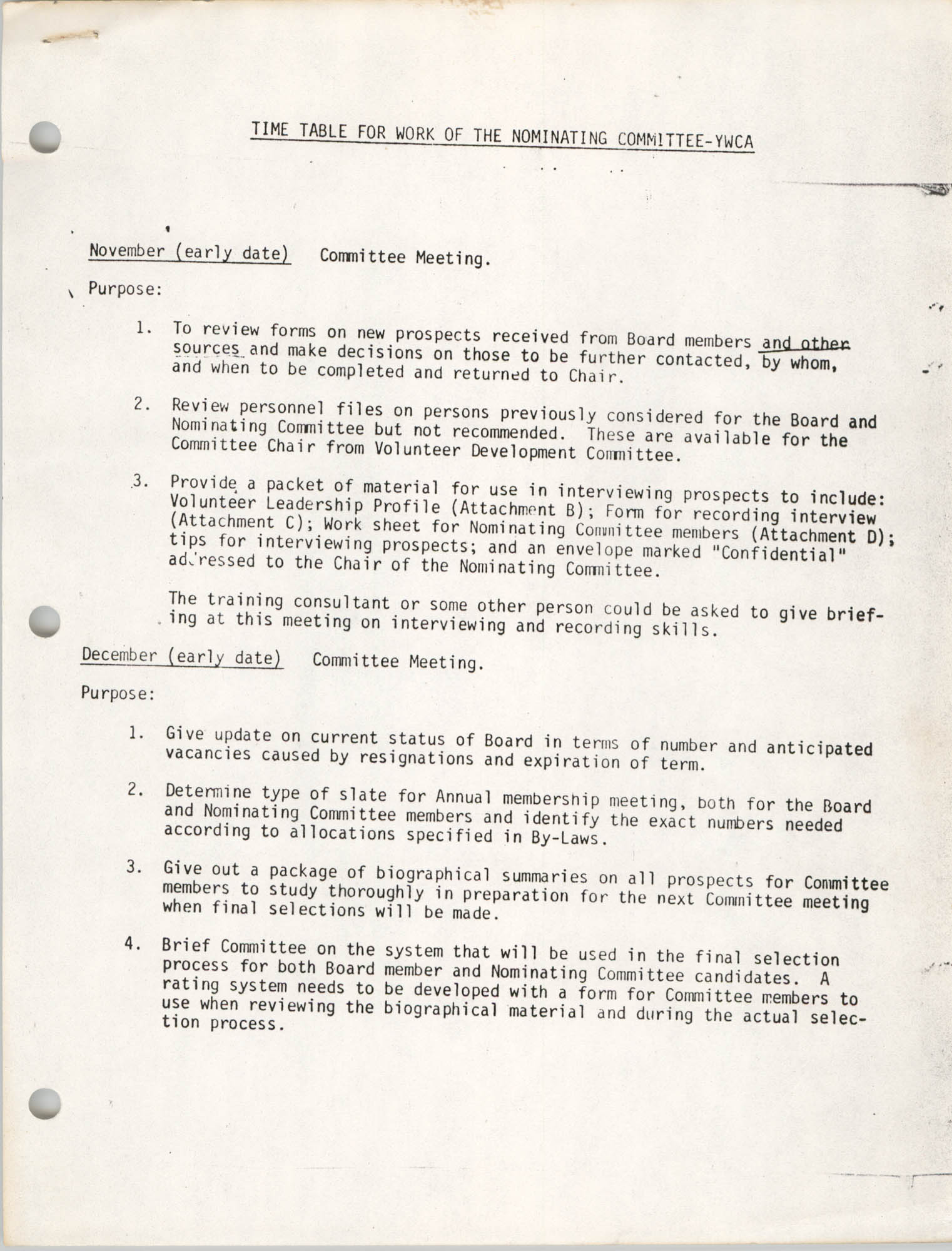 Time Table for Work of the Nominating Committee, Page 1