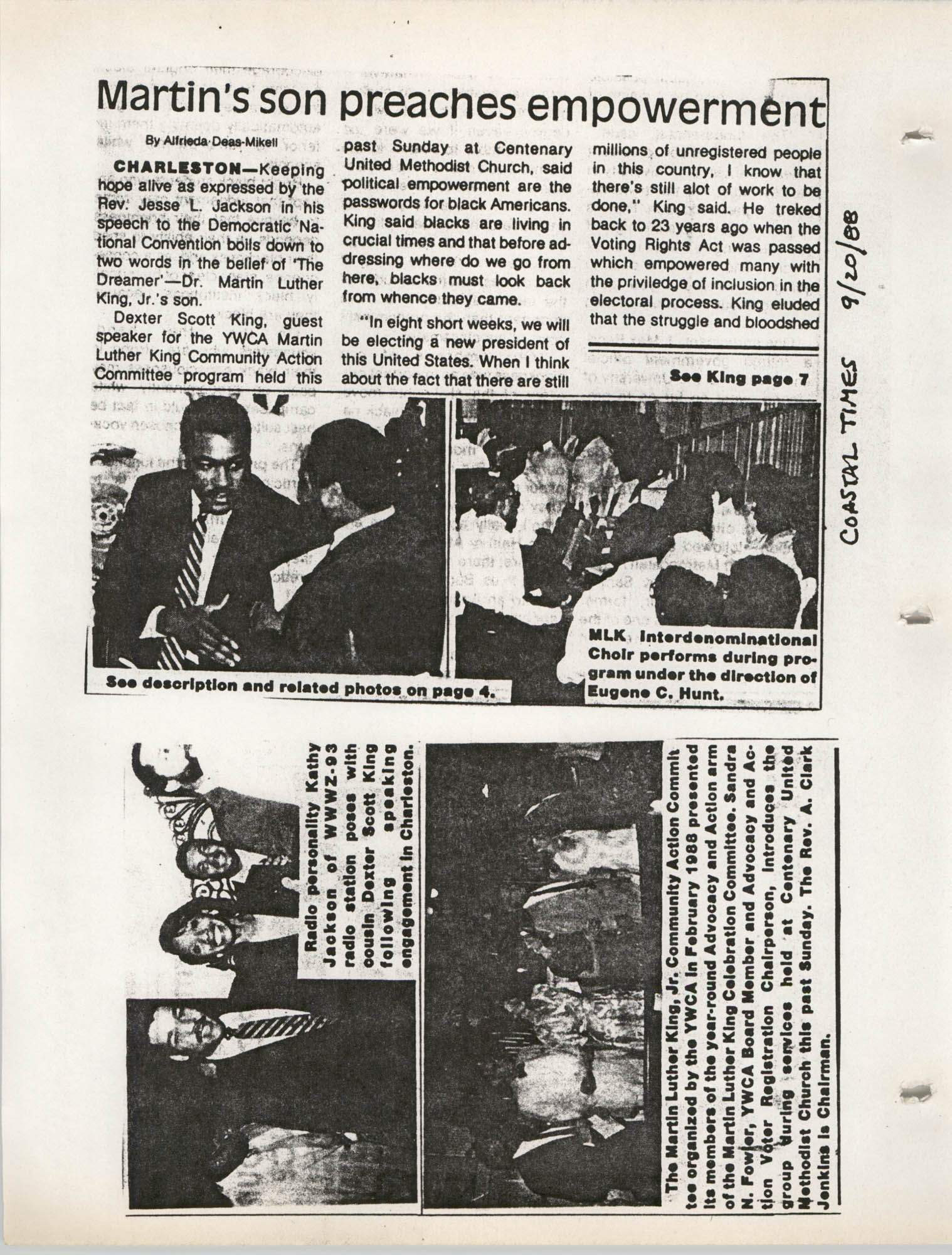 Martin Luther King, Jr. Scrapbook, 1988, Page 9