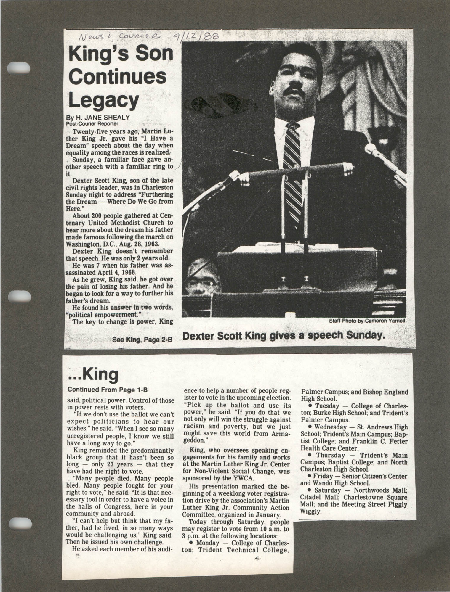 Martin Luther King, Jr. Scrapbook, 1988, Page 12