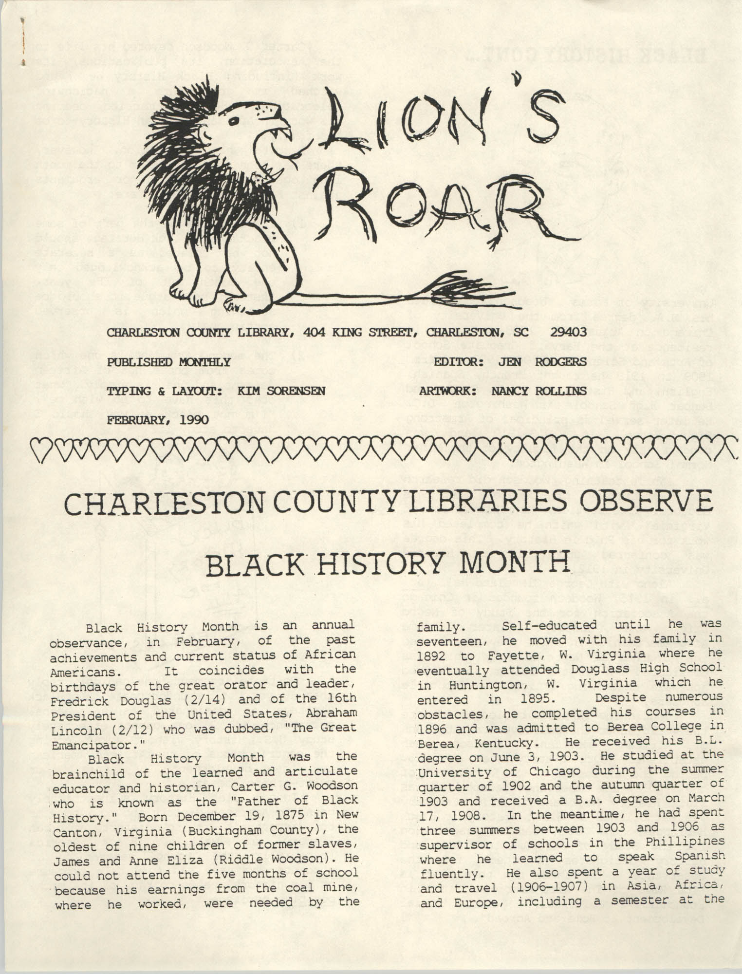 The Lion's Roar, February 1990, Page 1