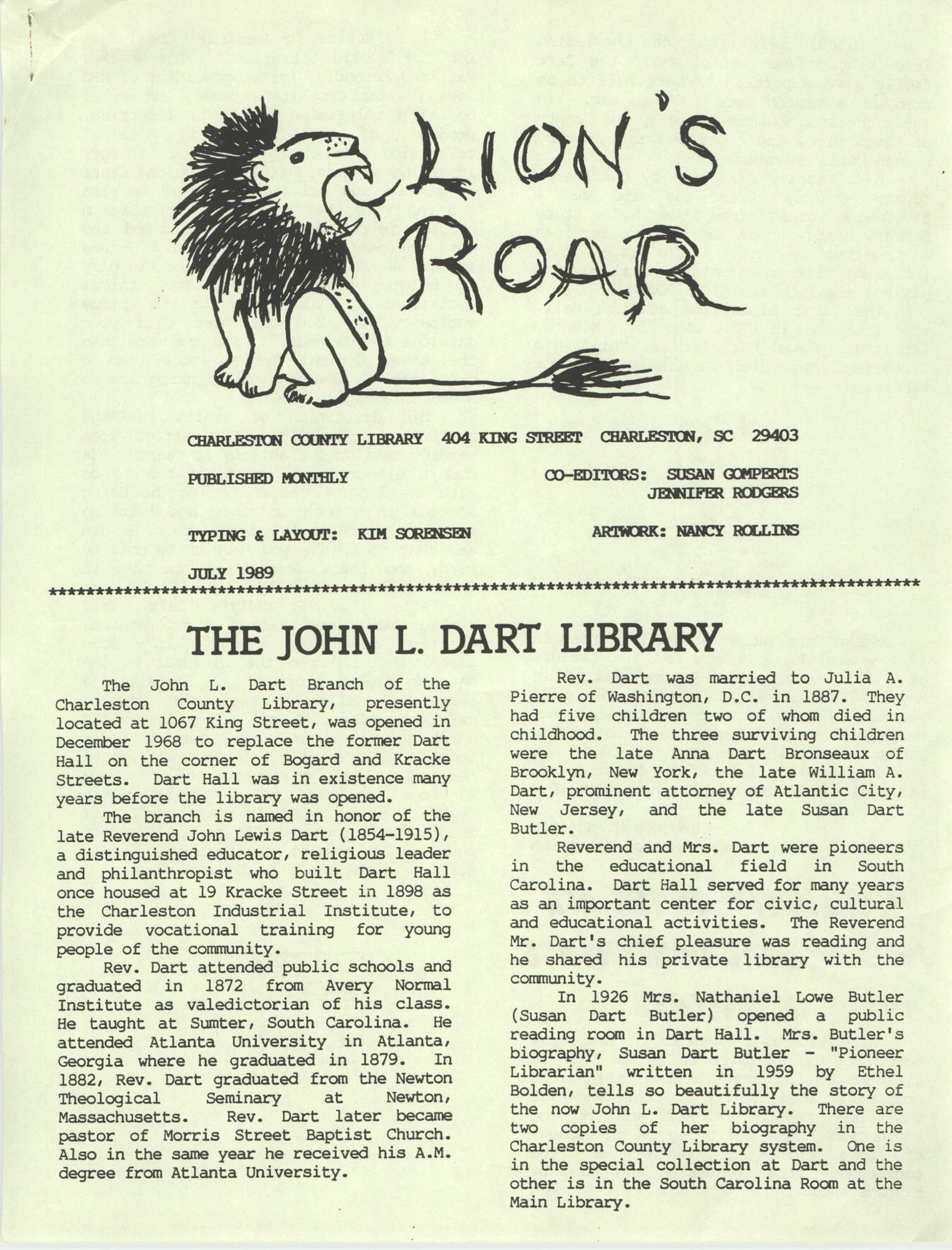 The Lion's Roar, July 1989, Page 1