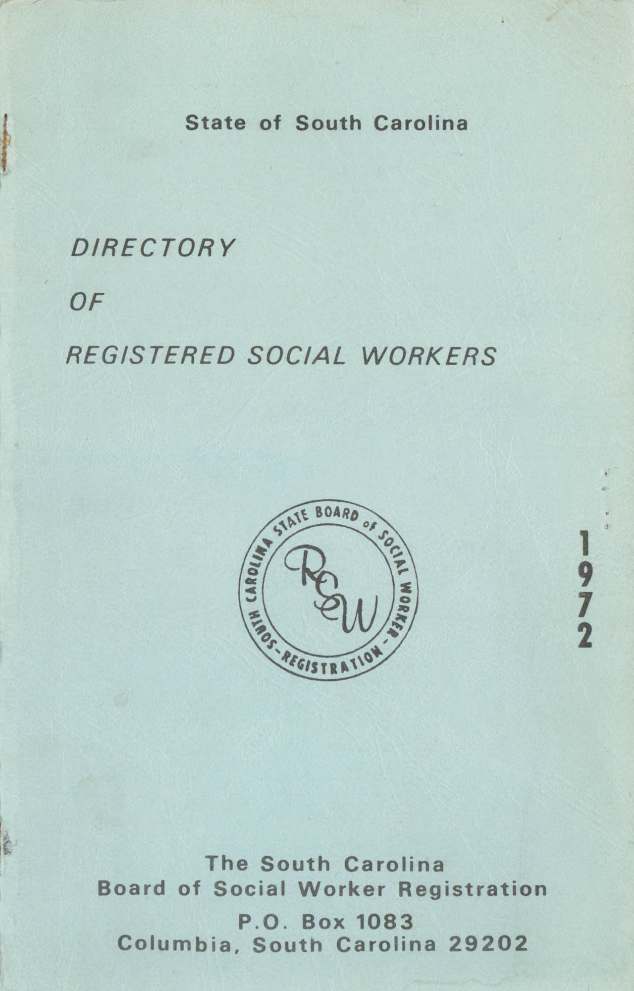 State of South Carolina Directory of Registered Social Workers, 1972, Front Cover