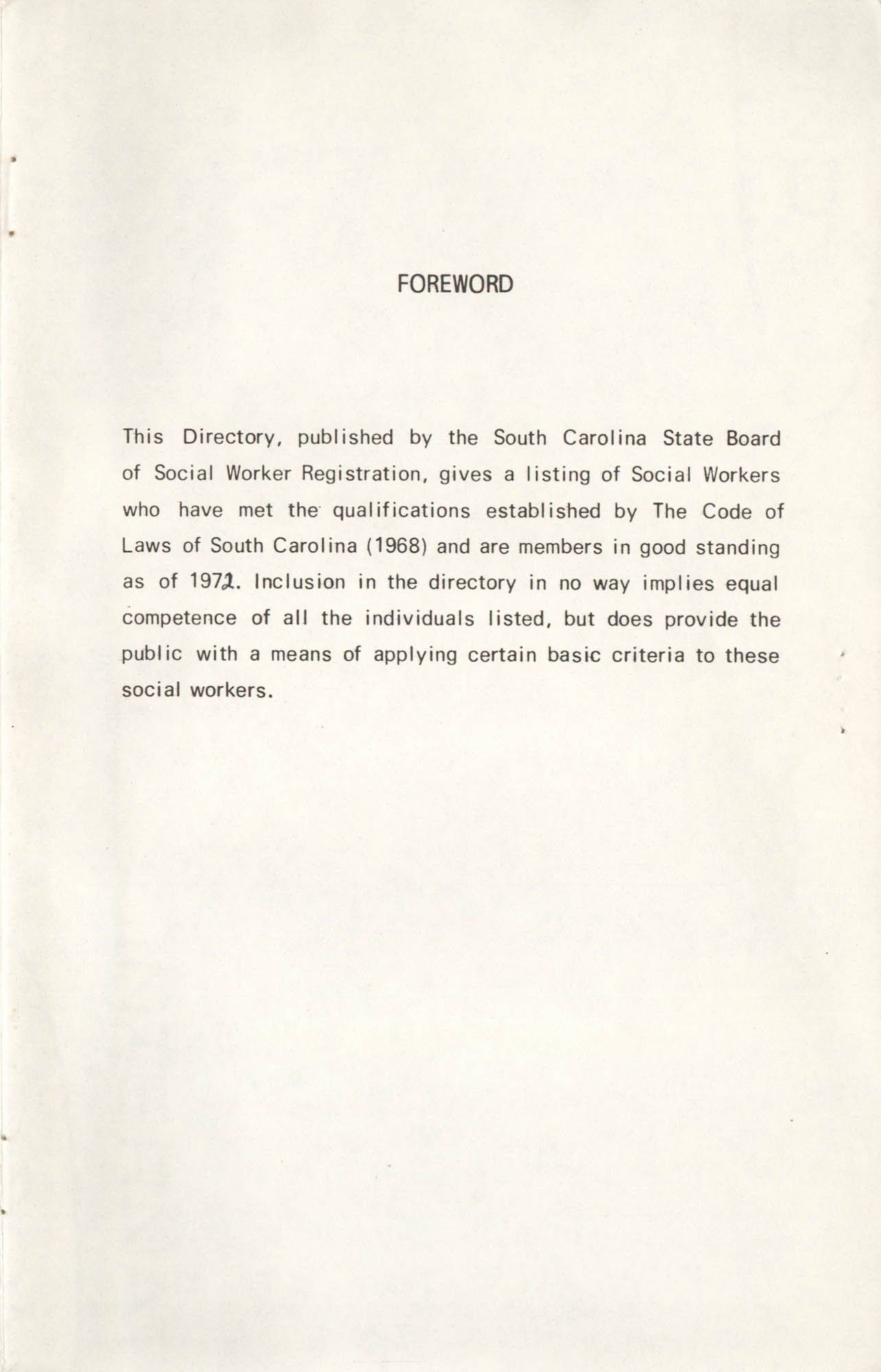 State of South Carolina Directory of Registered Social Workers, 1972, Forward