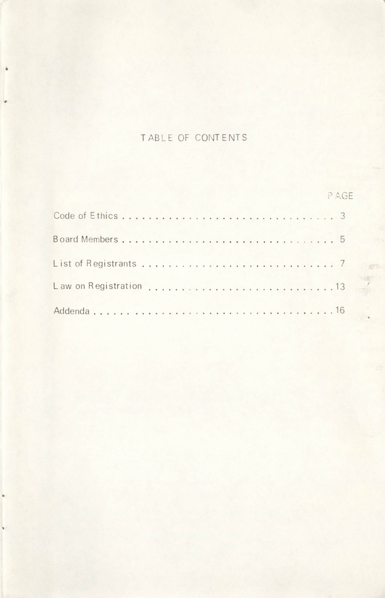 State of South Carolina Directory of Registered Social Workers, 1972, Table of Contents