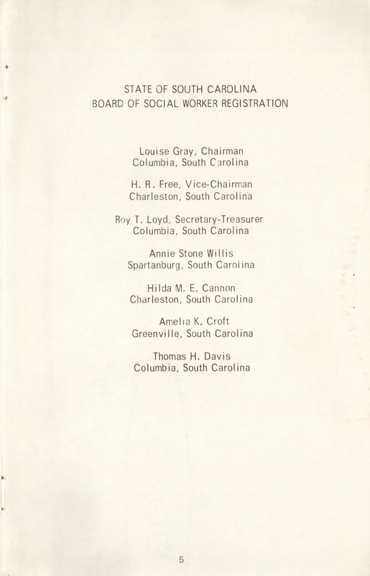 State of South Carolina Directory of Registered Social Workers, 1972, Page 5