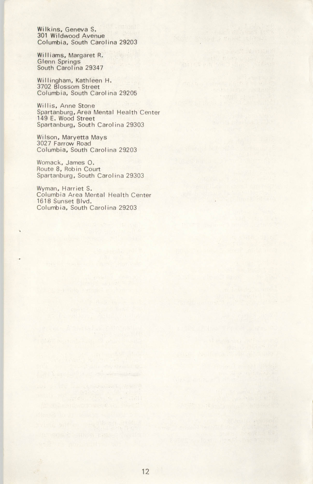 State of South Carolina Directory of Registered Social Workers, 1972, Page 12