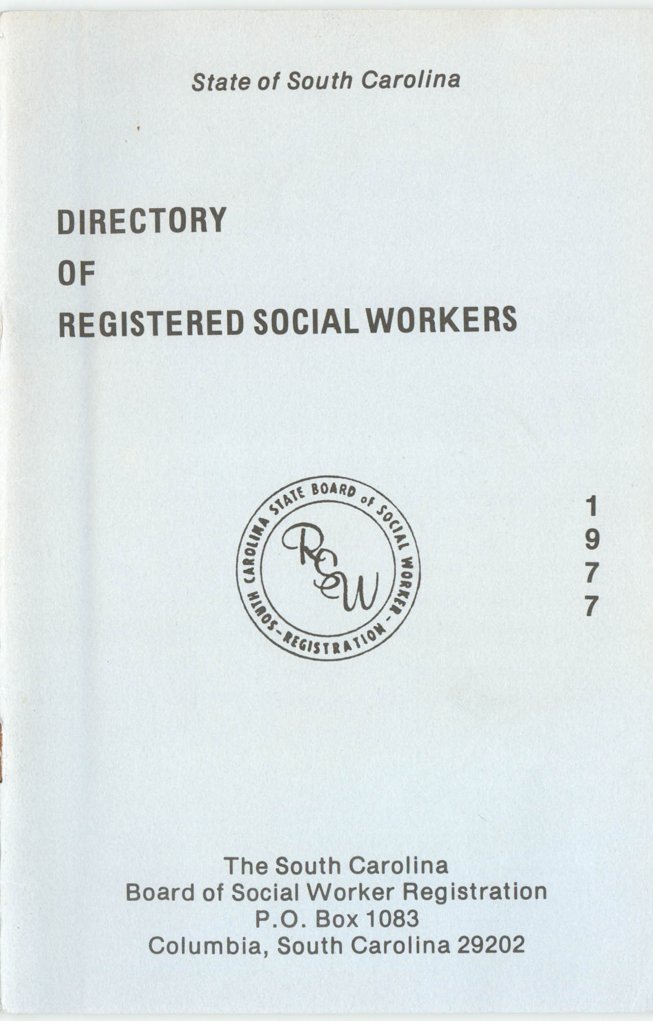 State of South Carolina Directory of Registered Social Workers, 1977, Cover