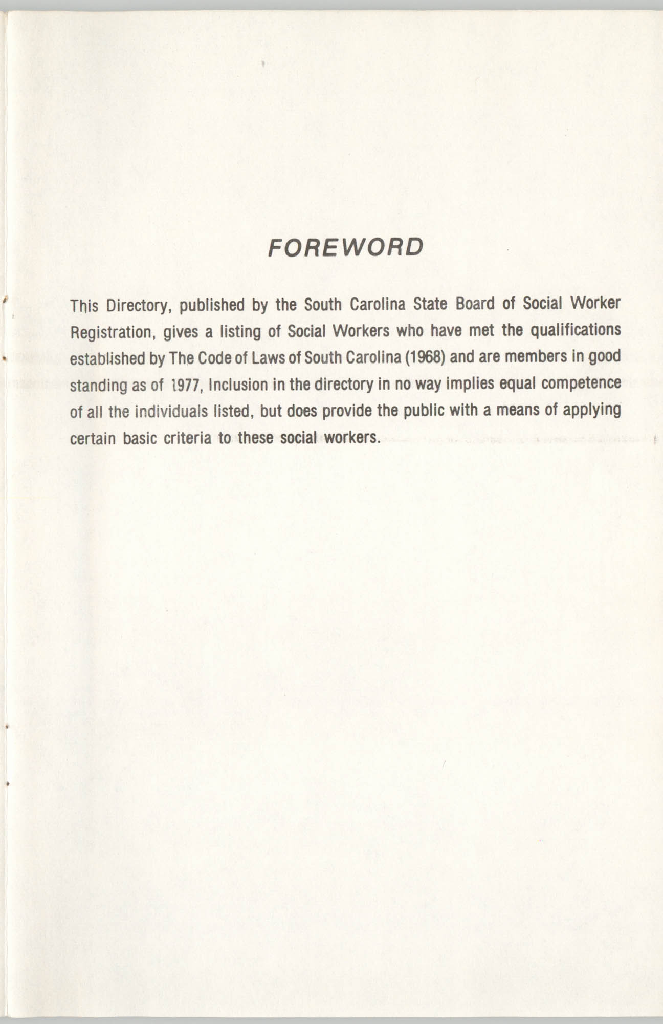 State of South Carolina Directory of Registered Social Workers, 1977, Forward