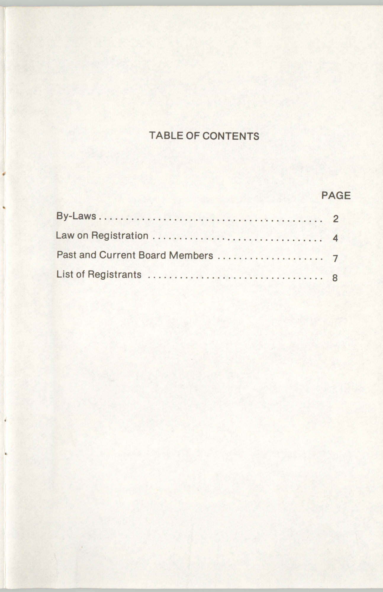 State of South Carolina Directory of Registered Social Workers, 1977, Table of Contents