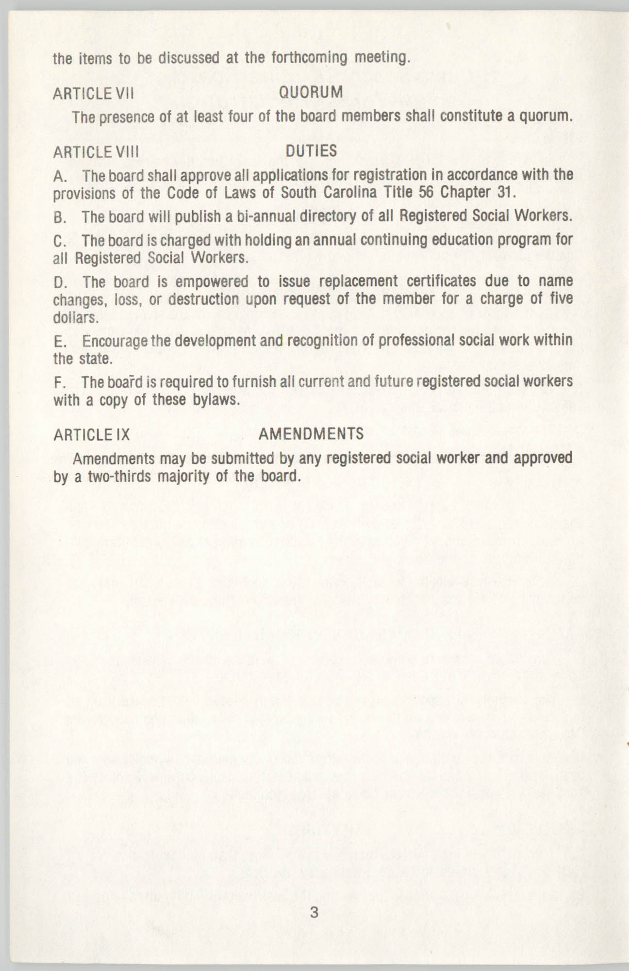State of South Carolina Directory of Registered Social Workers, 1977, Page 3